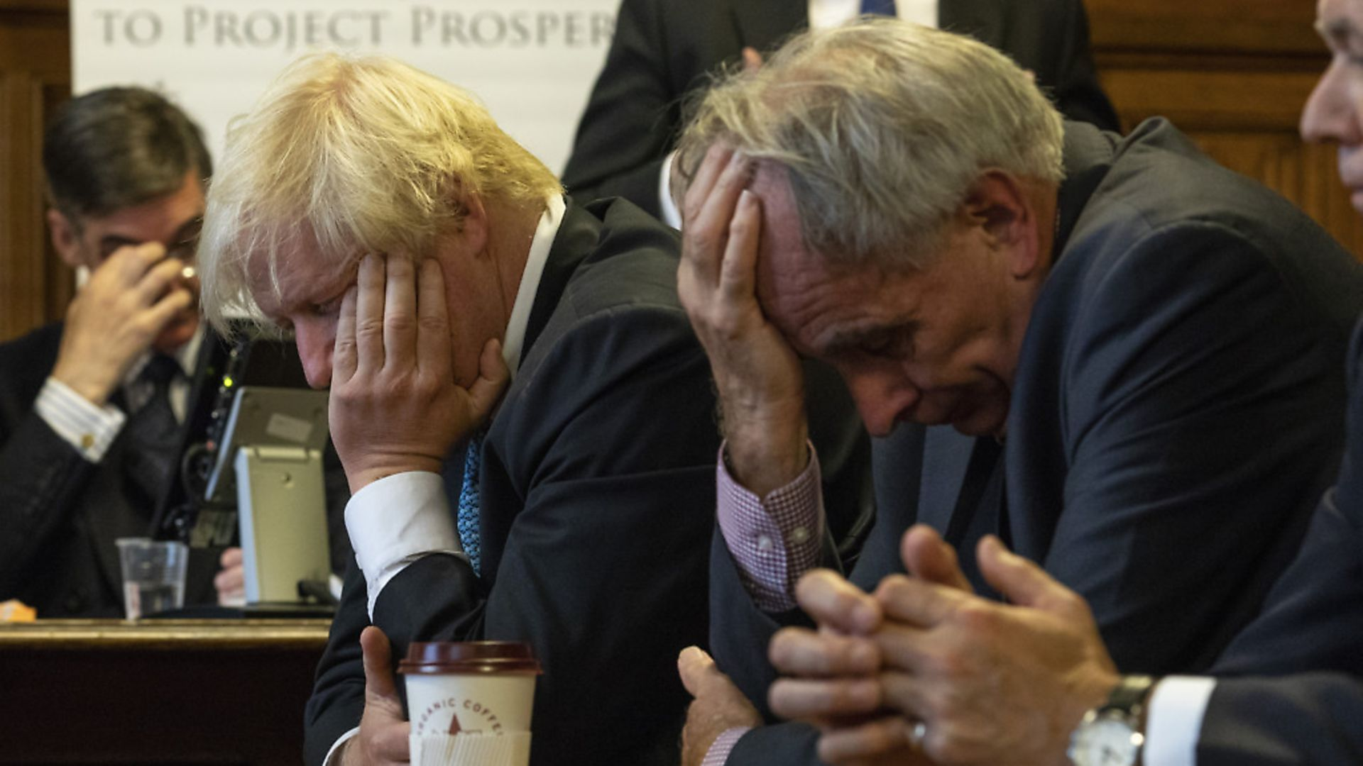 'Come on lads ... THINK!' Jacob Rees-Mogg, Boris Johnson and Peter Bone struggle to make sense of Brexit Photo: Getty - Credit: Getty Images