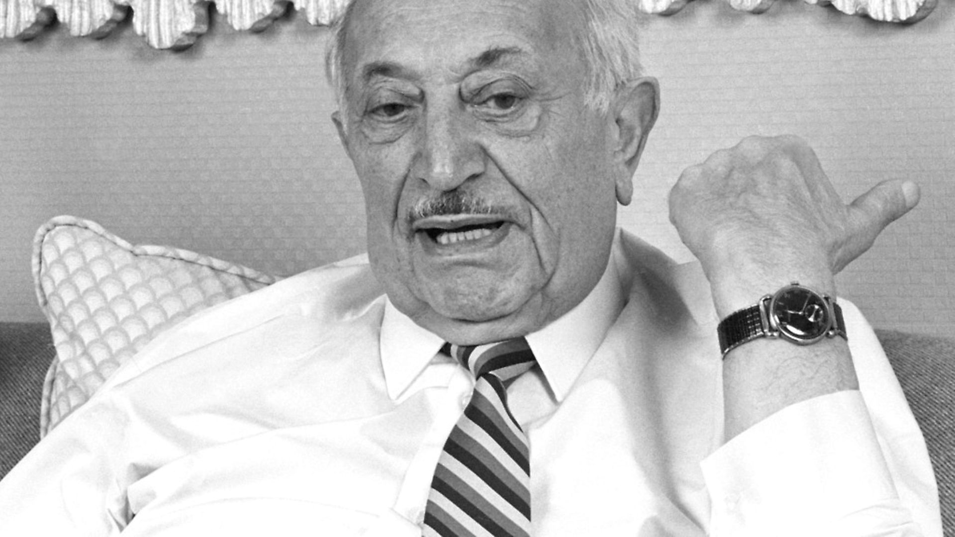 Portrait of Austrian author and Nazi hunter Simon Wiesenthal (1908 - 2005) during a photo shoot, Los Angeles, California, January 28, 1987. (Photo by Bob Riha, Jr./Getty Images) - Credit: Getty Images