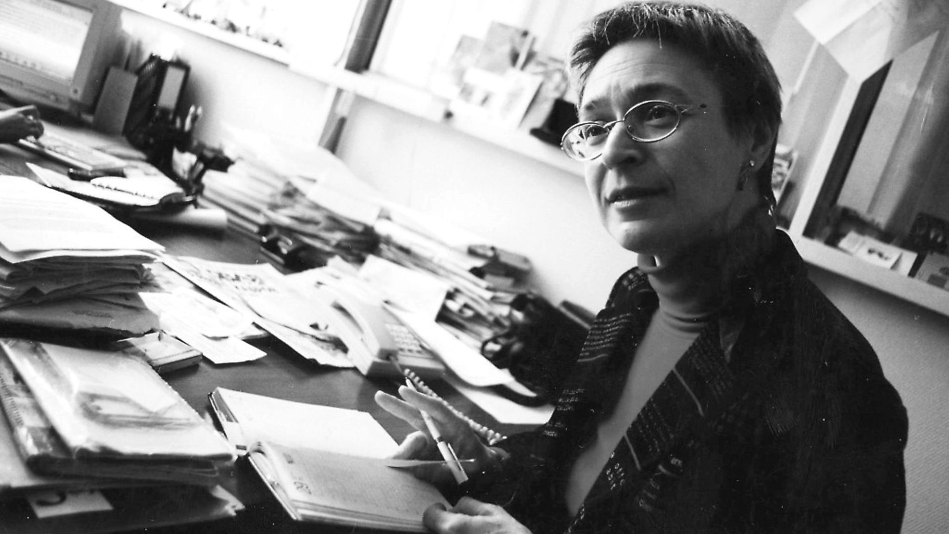 In this undated file photo, independent Russian journalist Anna Politkovskaya, a highly respected and tireless investigative reporter and author is pictured at work. (Photo by Novaya Gazeta/Epsilon/Getty Images) - Credit: Getty Images