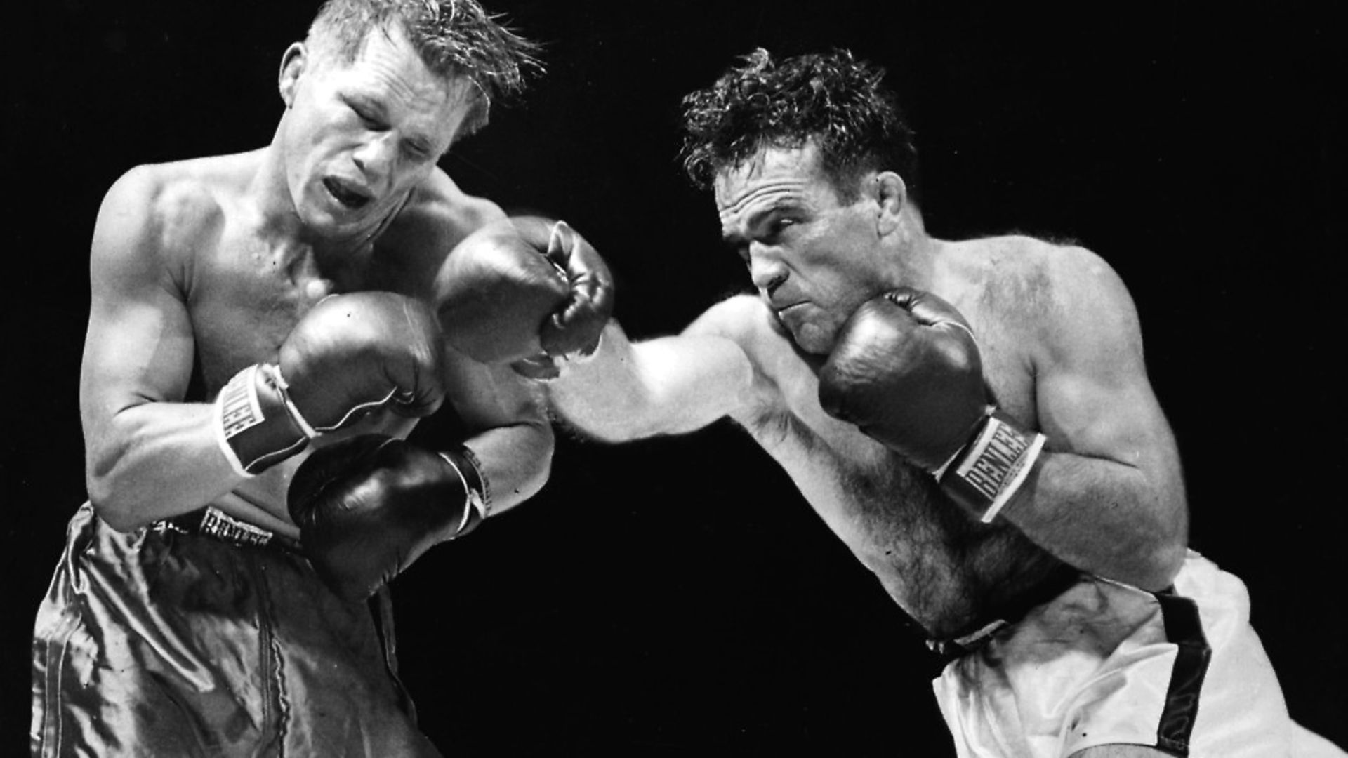 Marcel Cerdan of France delivers a hard right to American boxer Tony Zale's face during their World Middleweight Championship bout at the Roosevelt Stadium, Jersey City. Cerdan won the title in 11 rounds.   (Photo by Keystone/Getty Images) - Credit: Getty Images