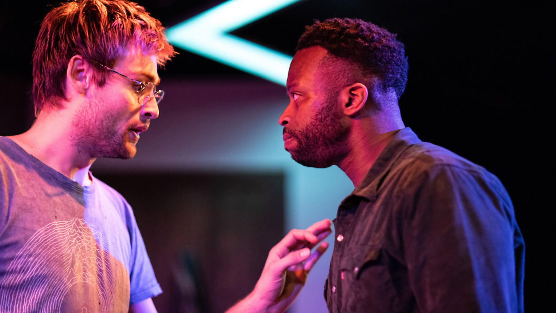 Douglas Booth, left, proves he's more than just a pretty face, as he stars alongside Clifford Samuel in A Guide for the Homesick, at Trafalgar Studios. Photo: Helen Maybanks - Credit: Helen Maybanks