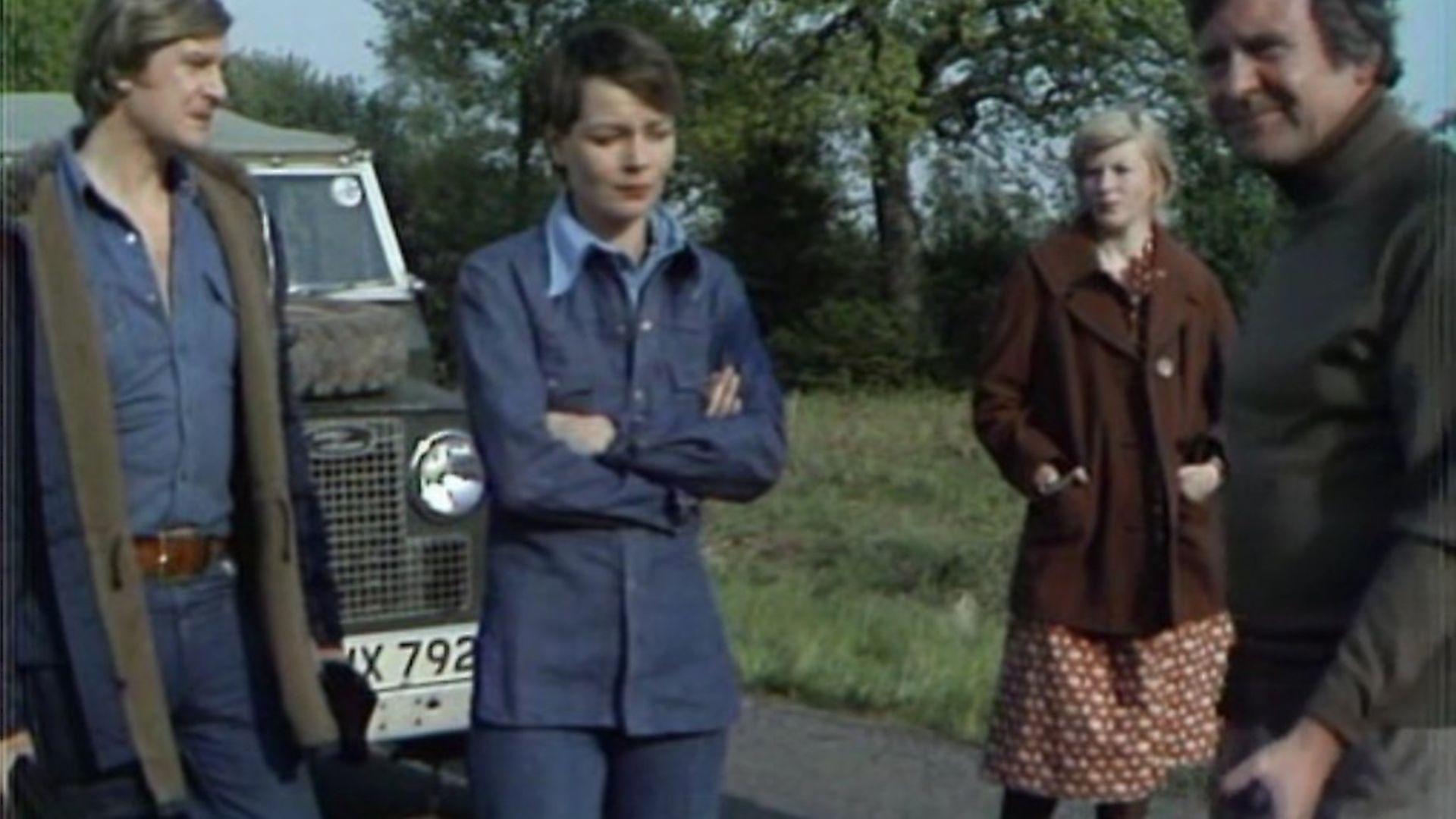 Caroline Burt, Ian McCulloch, Glyn Owen, and Carolyn Seymour in Survivors (1975) - Credit: Archant