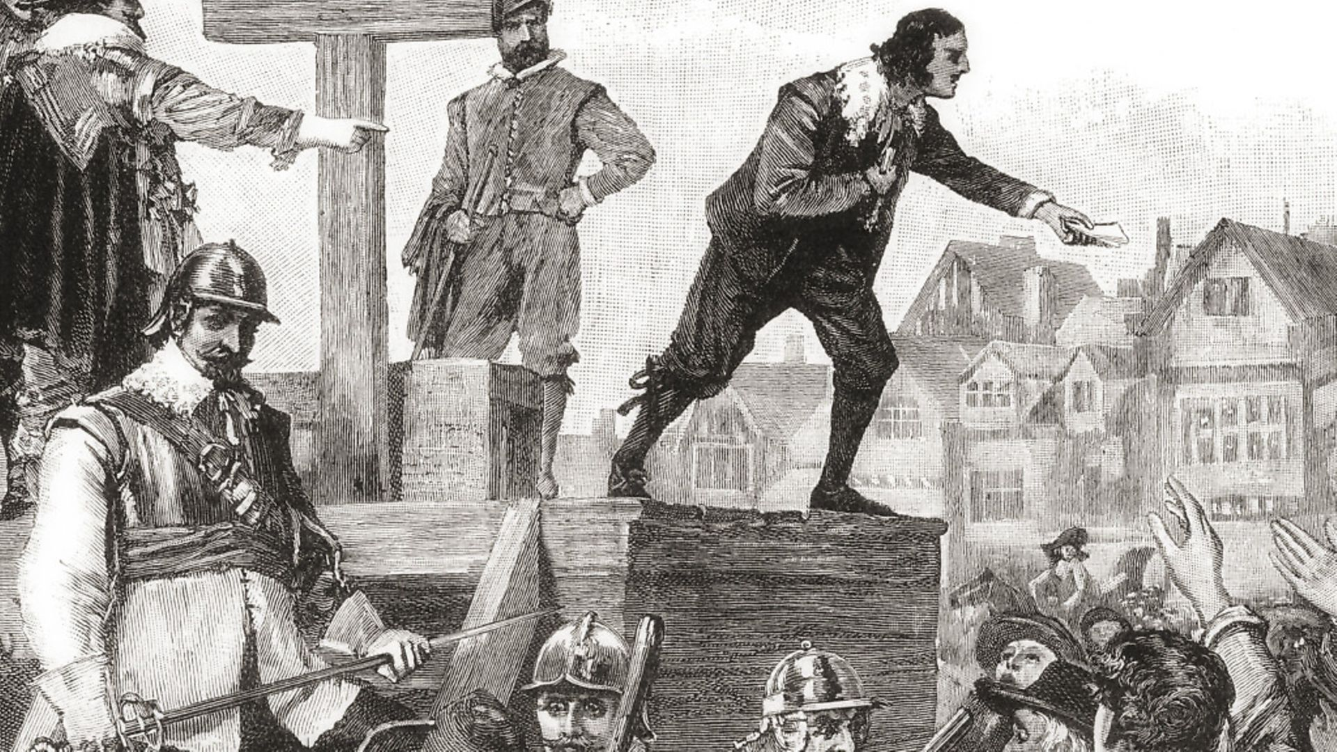 John Lilburne on the pillory, 1638, arrested for printing and circulating unlicensed books. John Lilburne, 1614 � 1657, aka Freeborn John. English political Leveller. From The Century Edition of Cassell's History of England, published 1901. (Photo by: Universal History Archive/UIG via Getty Images) - Credit: UIG via Getty Images