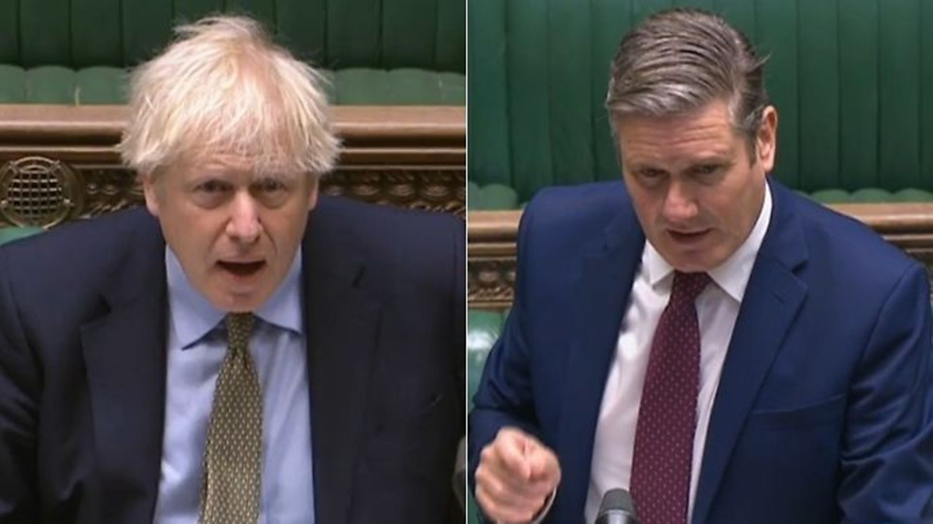 Boris Johnson (L) and opposition leader Sir Keir Starmer in the House of Commons - Credit: Parliamentlive.tv