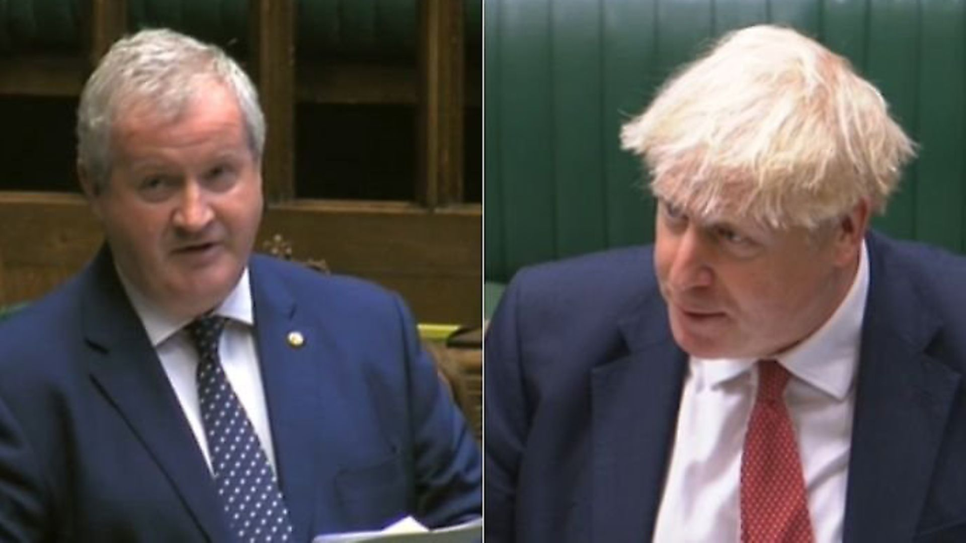 Ian Blackford confronts Boris Johnson in the House of Commons. Photograph: Parliament TV. - Credit: Archant