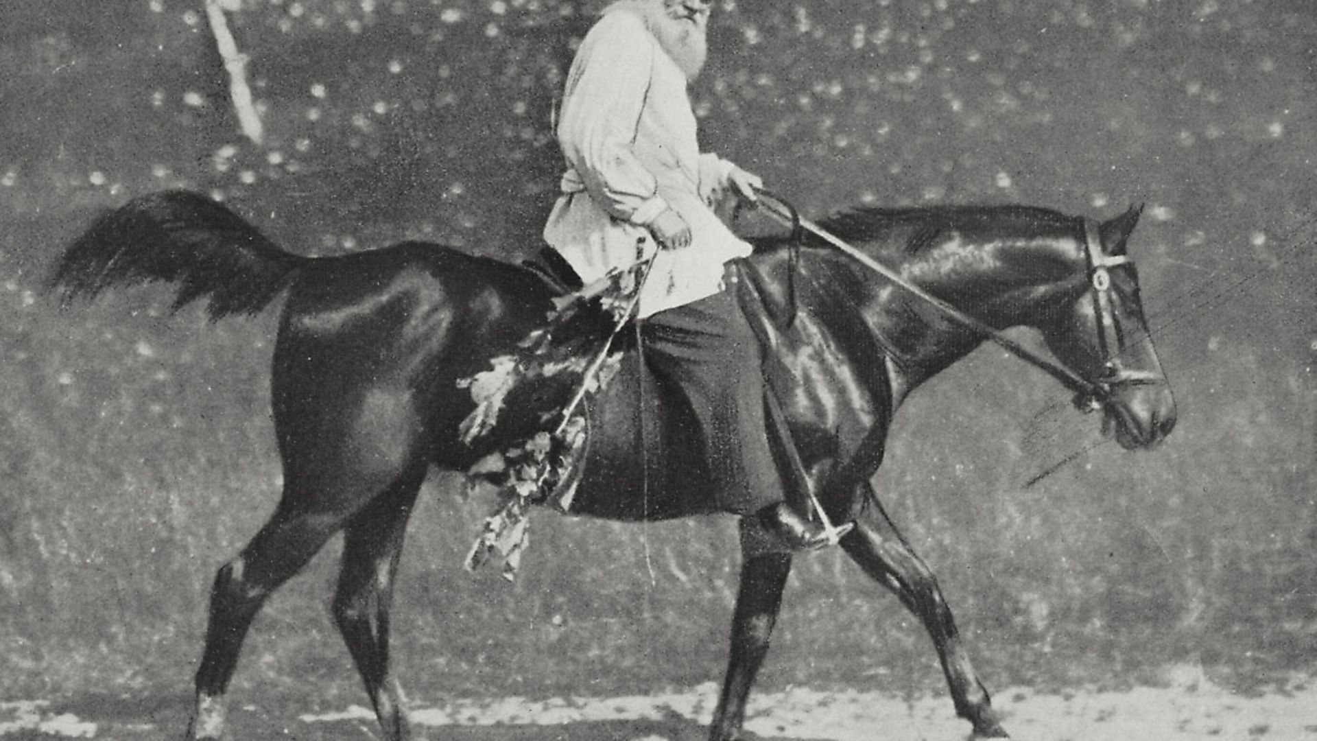 Lev Tolstoy (1828-1910) on horseback at his residence in Yasnaya Polyana, Russia, photo by Brocherel, from L'Illustrazione Italiana, November 20, 1910. - Credit: De Agostini via Getty Images