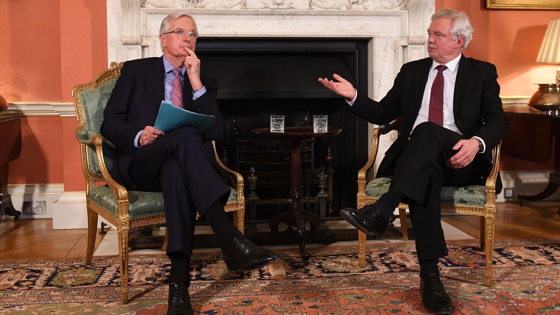 European Commission negotiator Michel Barnier meets with former Brexit secretary David Davis - Credit: PA