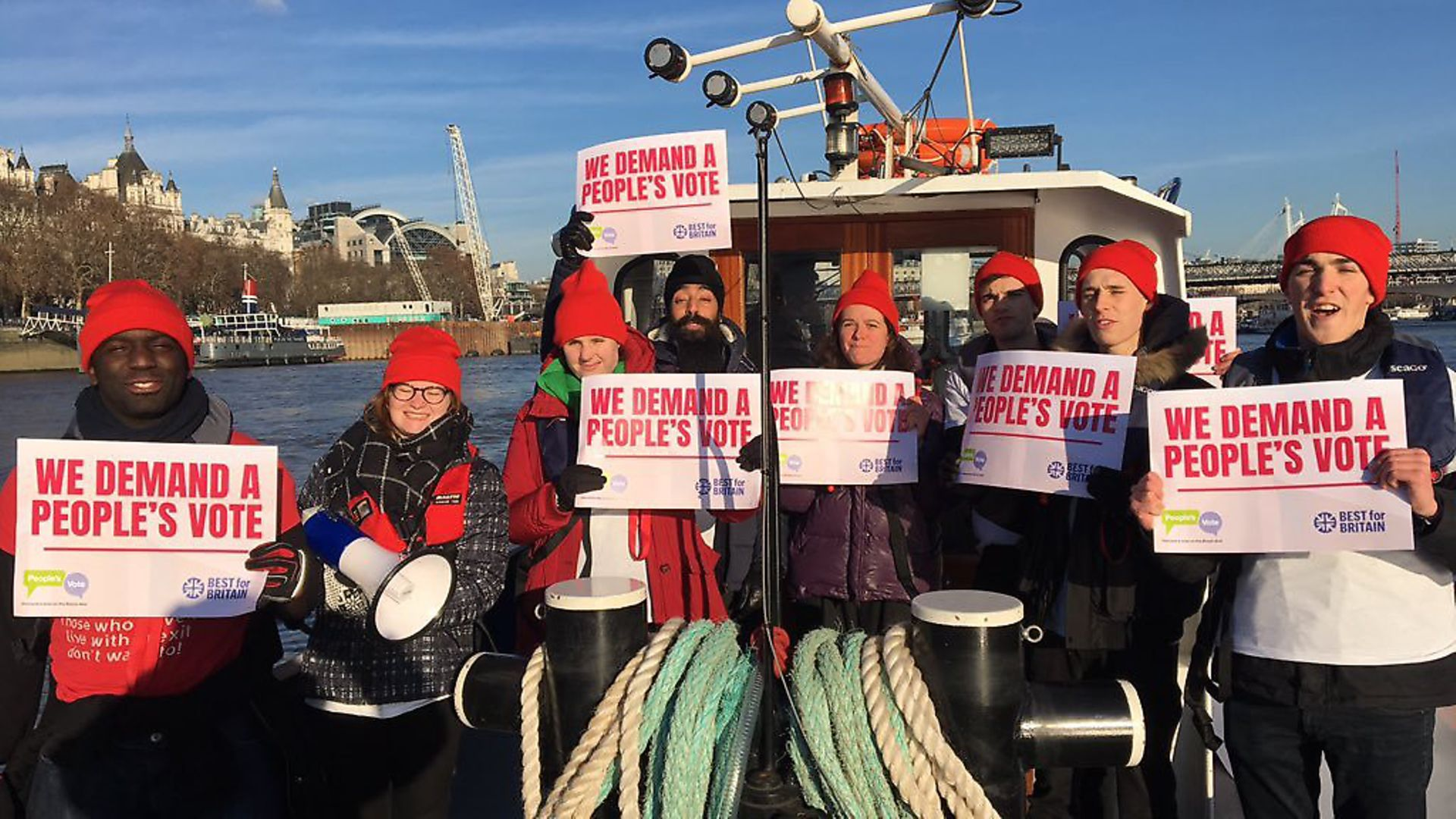 People's Vote campaigners on a people's boat. Photograph: Our Future Our Choice. - Credit: Archant
