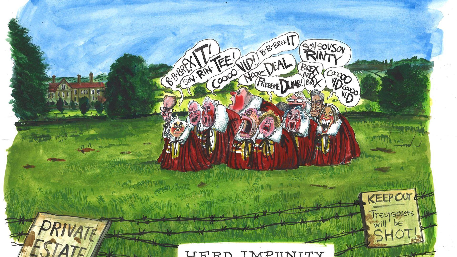 'Herd Impunity' by Martin Rowson - Credit: Martin Rowson