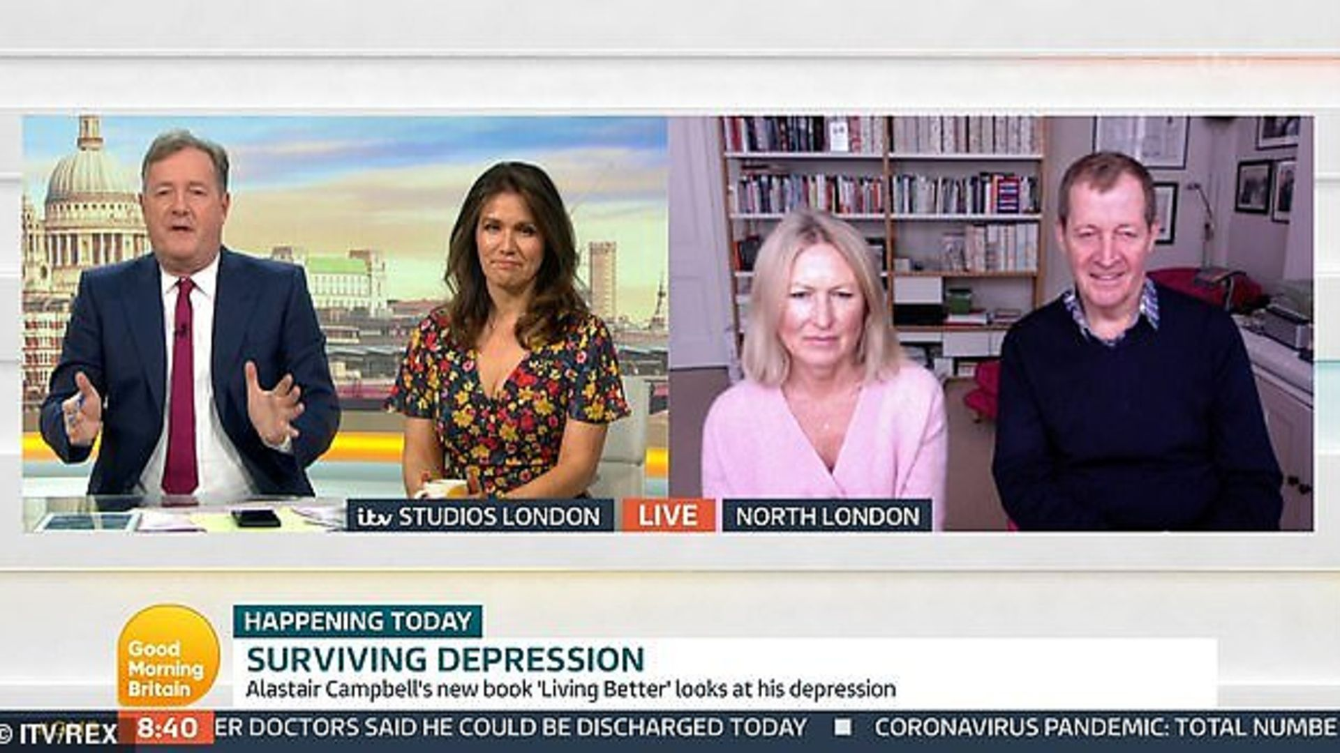 Alastair Campbell and partner Fiona Millar appear on Good Morning Britain, presented by hosts Piers Morgan and Susanna Reid. - Credit: Archant