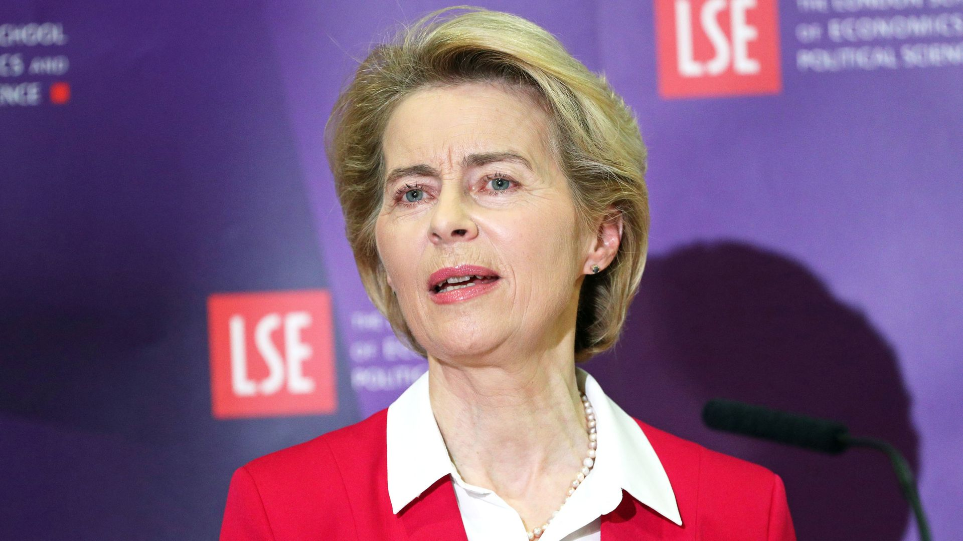 EU Commission President Ursula von der Leyen making a speech at the London School of Economics in Holborn, central London. - Credit: PA Archive/PA Images
