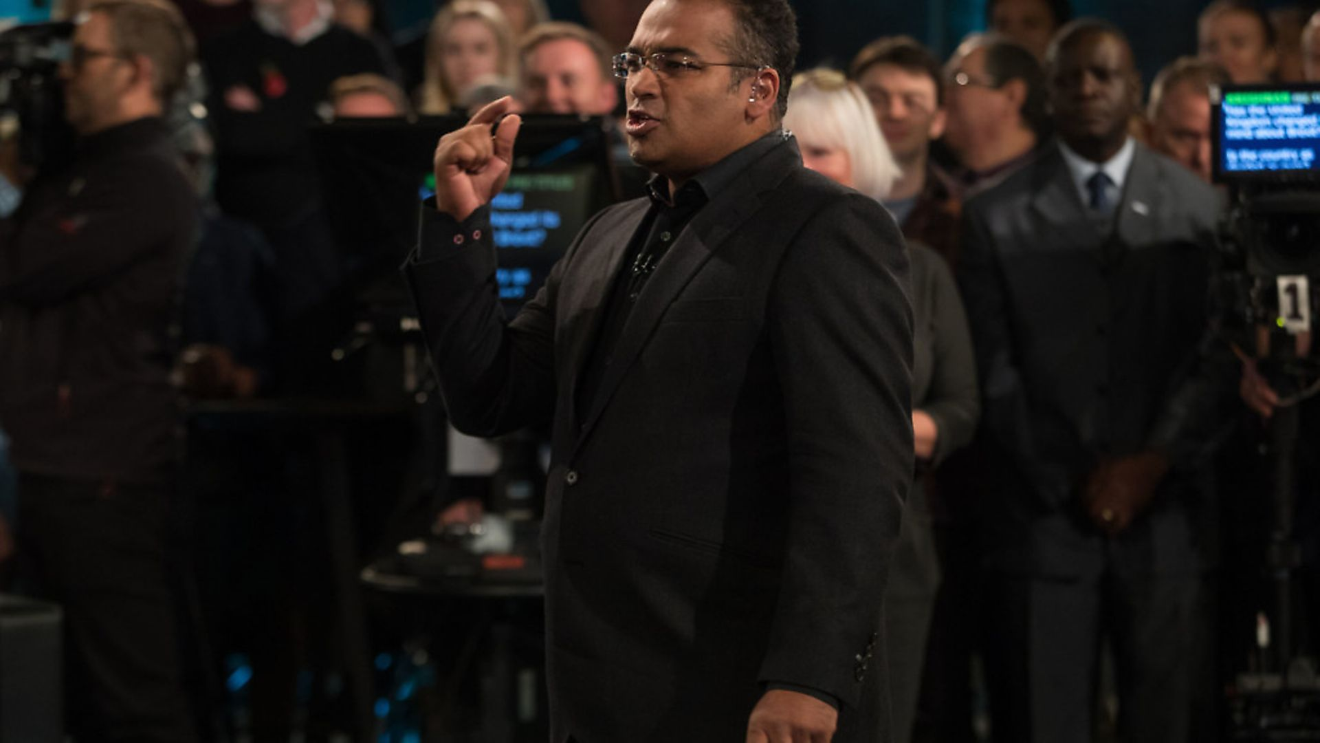 Host Krishnan Guru-Murthy at a previous Channel 4 Brexit debate. Photograph: Aaron Chown. - Credit: PA Wire/PA Images