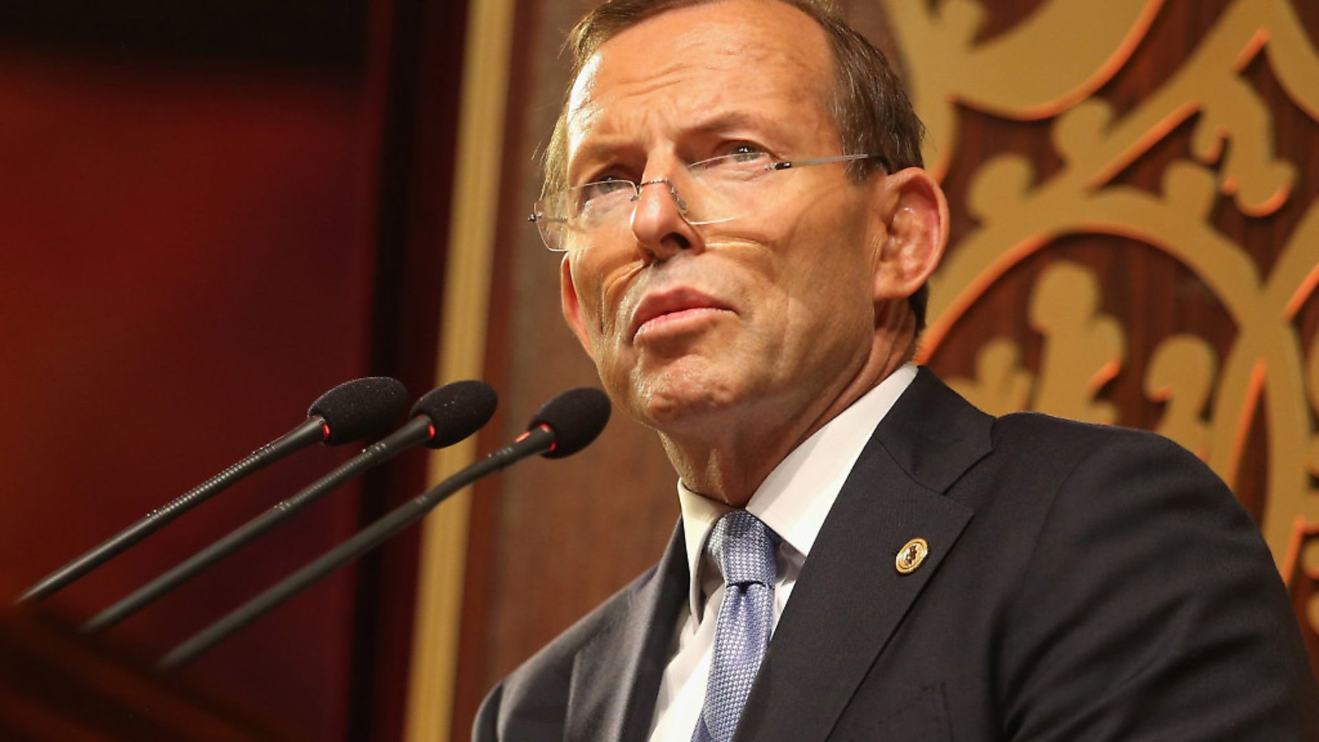 Former Australian prime minister Tony Abbott speaking at the opening ceremony at the Commonwealth Heads of Government Meeting (CHOGM), at the Nelum Pokuna Theatre in Colombo, Sri Lanka; Chris Jackson - Credit: PA