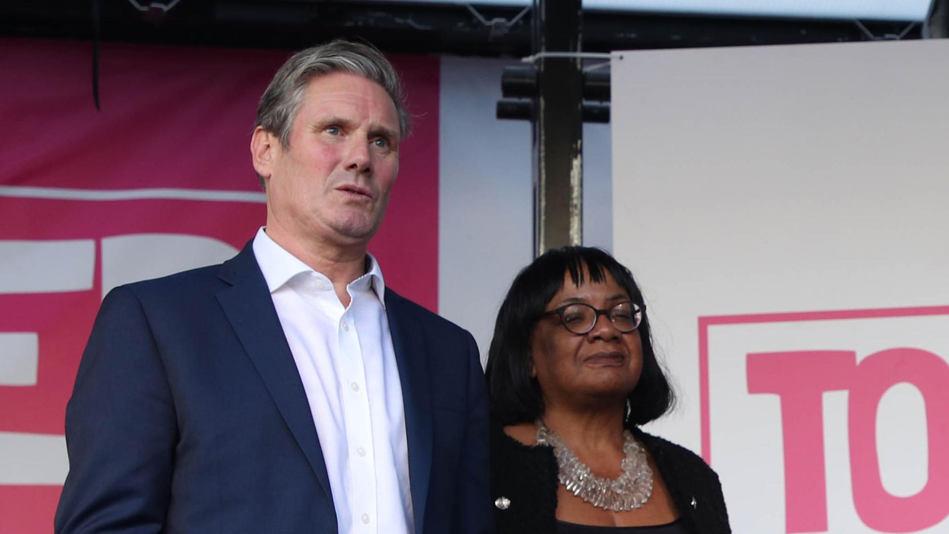Sir Keir Starmer and Diane Abbott at an anti-Brexit rally organised by the People's Vote campaign - Credit: PA
