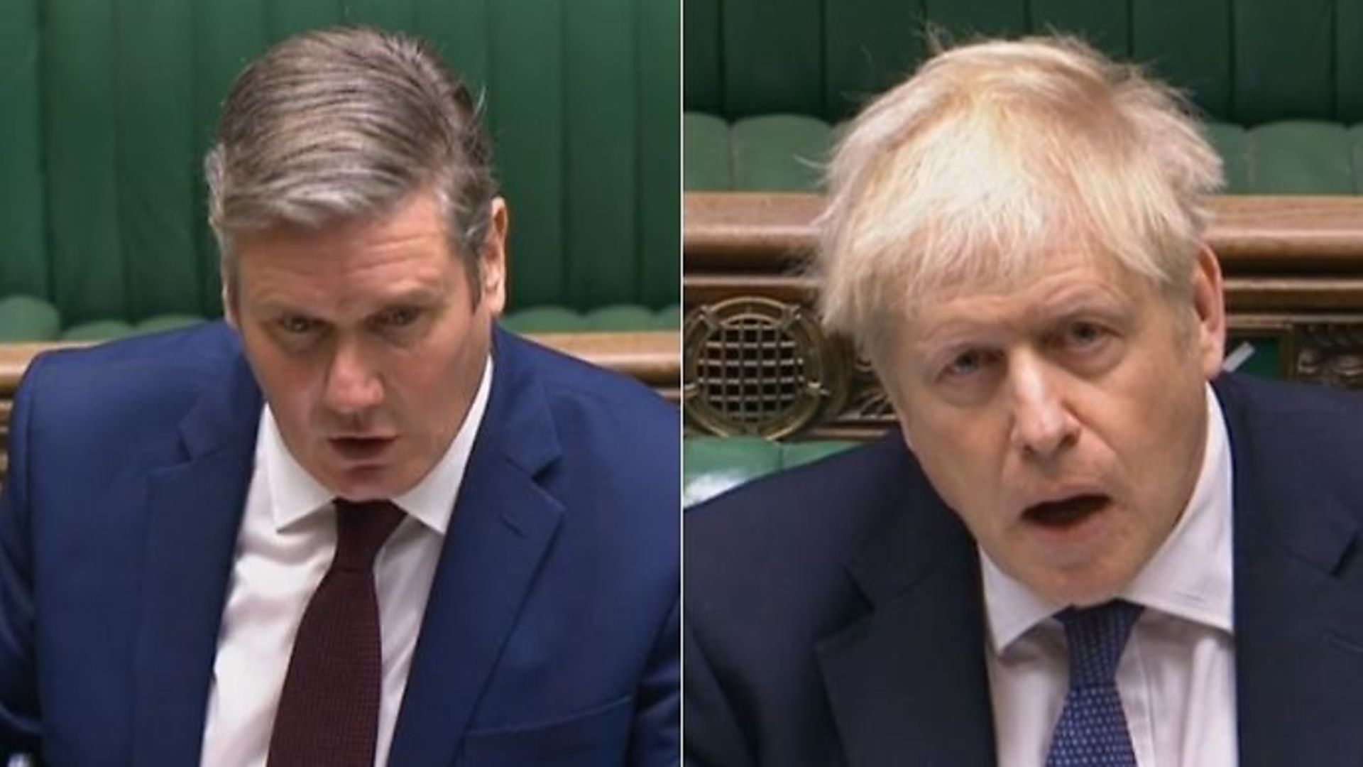 Sir Keir Starmer (L) and prime minister Boris Johnson during Prime Minister's Questions - Credit: Parliamentlive.tv