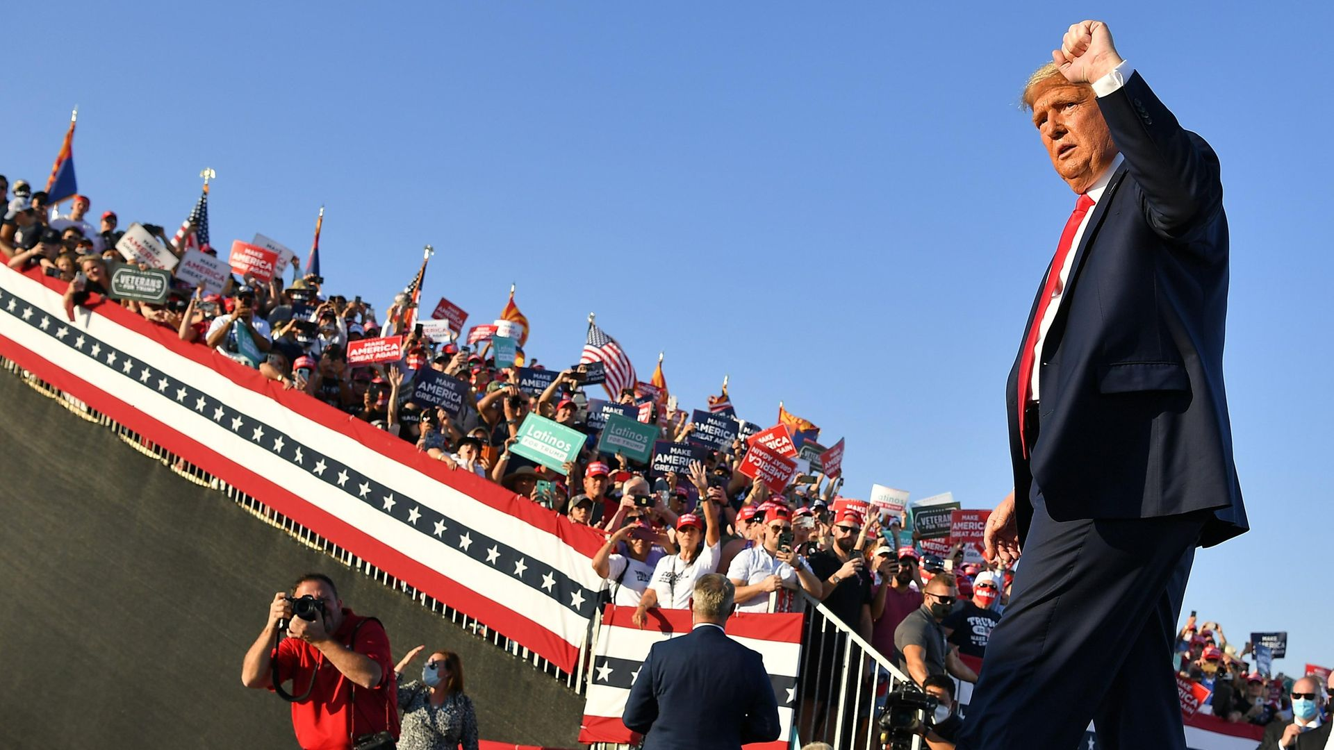 US President Donald Trump departs following a rally at Tucson International Airport in Tucson, Arizona on October 19, 2020 - Credit: AFP via Getty Images