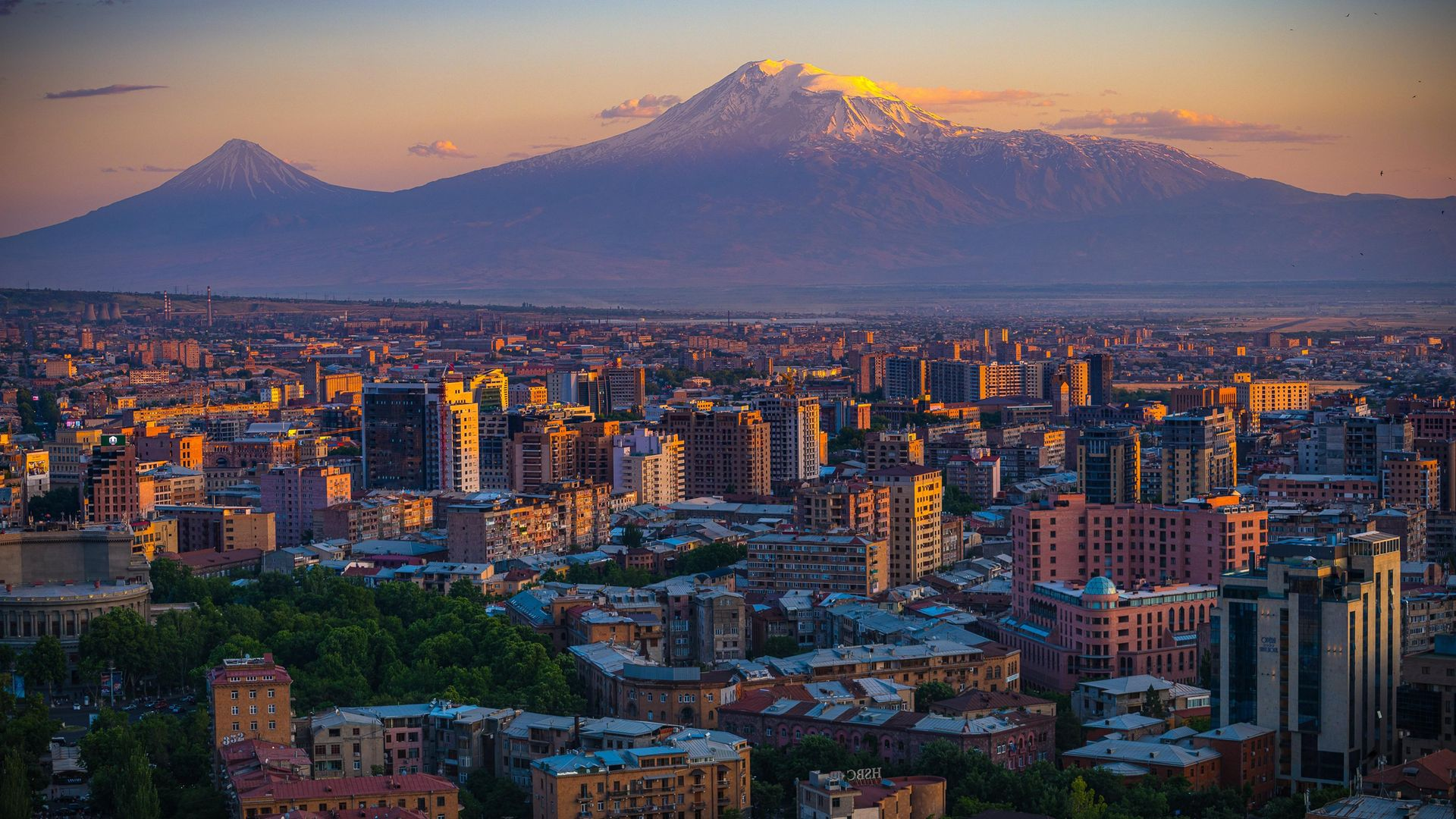 The view of Turkey's Mount Ararat from the Cascade Complex in Yerevan, Armenia - Credit: Getty Images