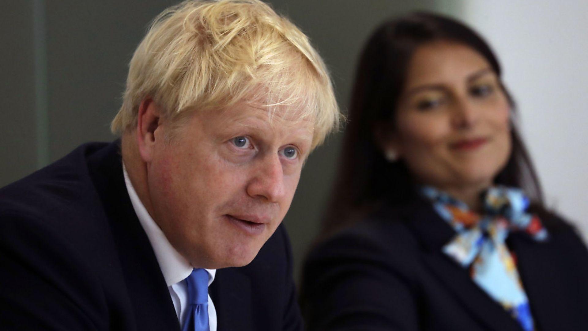 Prime Minister Boris Johnson with Home Secretary Priti Patel. Photograph: Kirsty Wigglewsorth/PA Wire. - Credit: PA