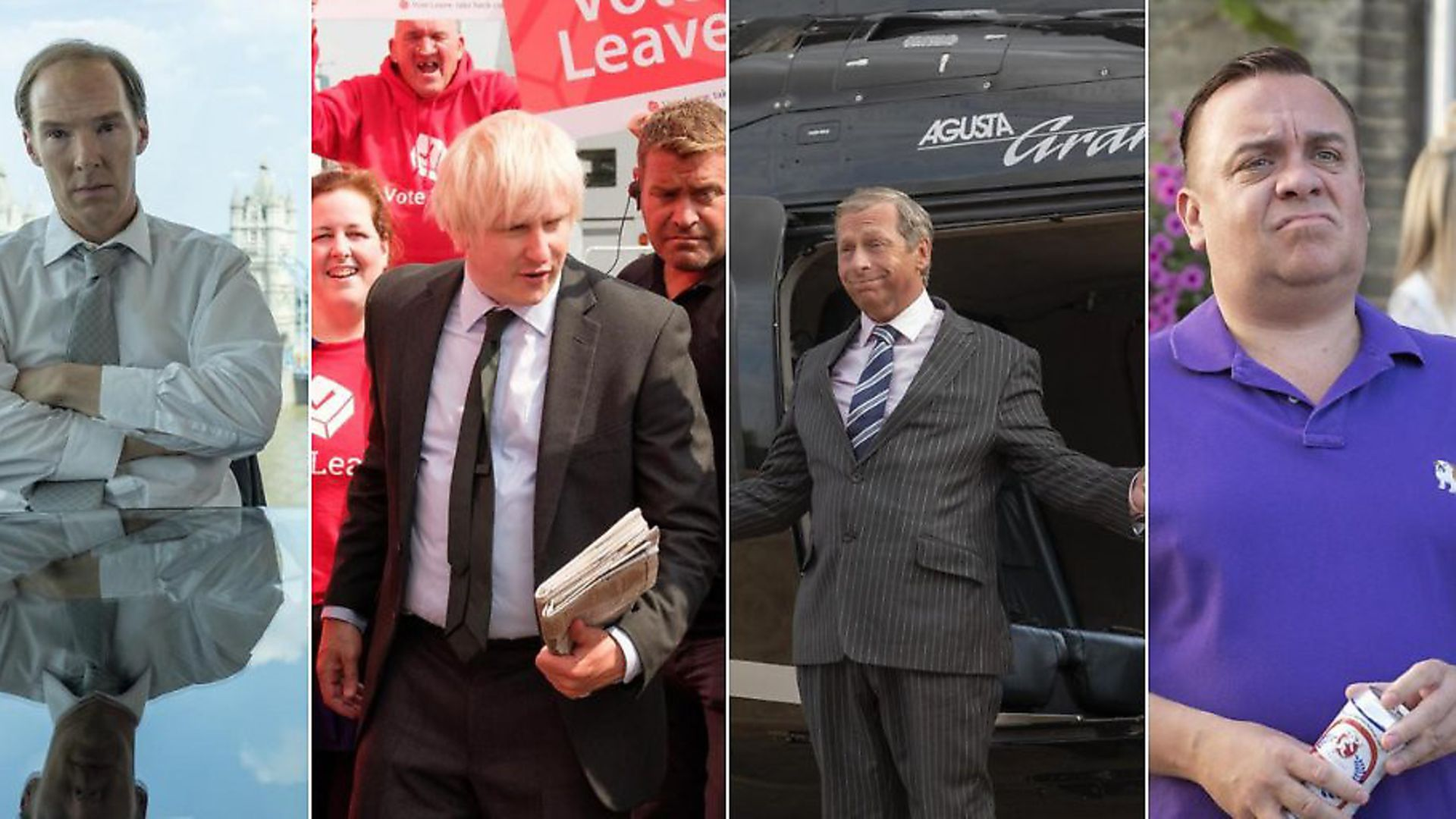 Characters playing Dominic Cummings, Boris Johnson, Nigel Farage and Arron Banks in Brexit: The Uncivil War. Photograph: Channel 4. - Credit: Archant