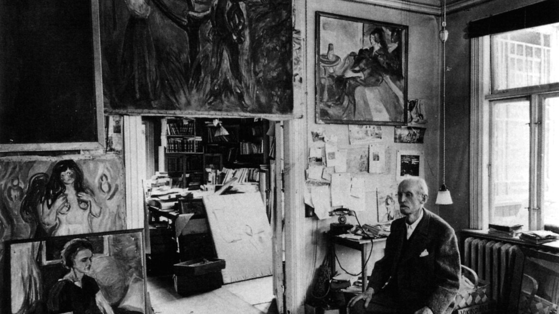 Edvard Munch in his studio with canvas. - Credit: Getty Images