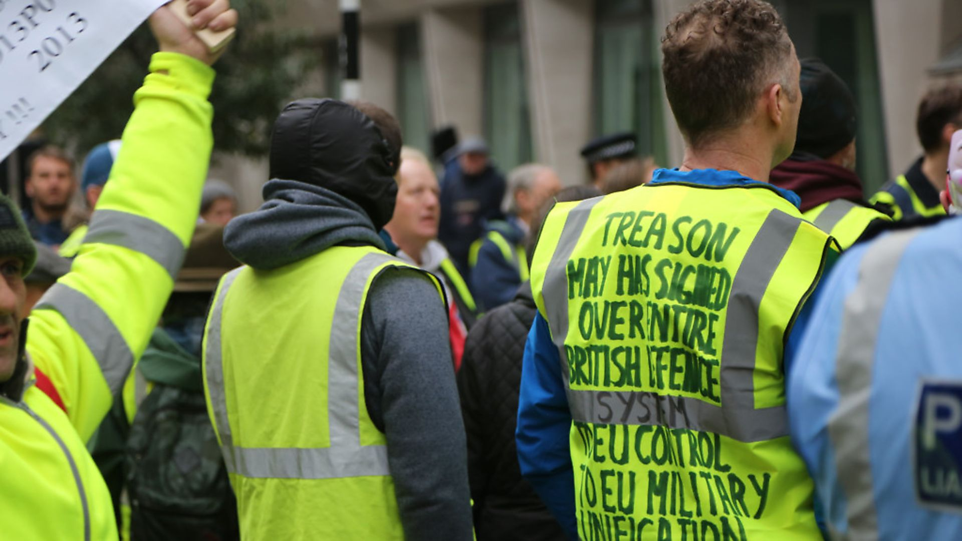 Far right yellow vests stage a protest in front of the Saint James underground station London, England on January 12, 2019. (Photo by Tayfun Salci/Anadolu Agency/Getty Images) - Credit: Getty Images