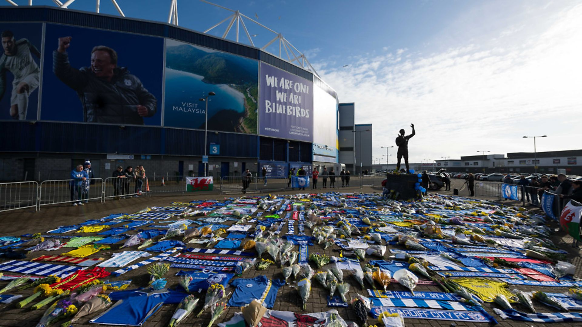 Tributes left to Emiliano Sala at the Cardiff Stadium. Photo: Getty Images - Credit: Getty Images