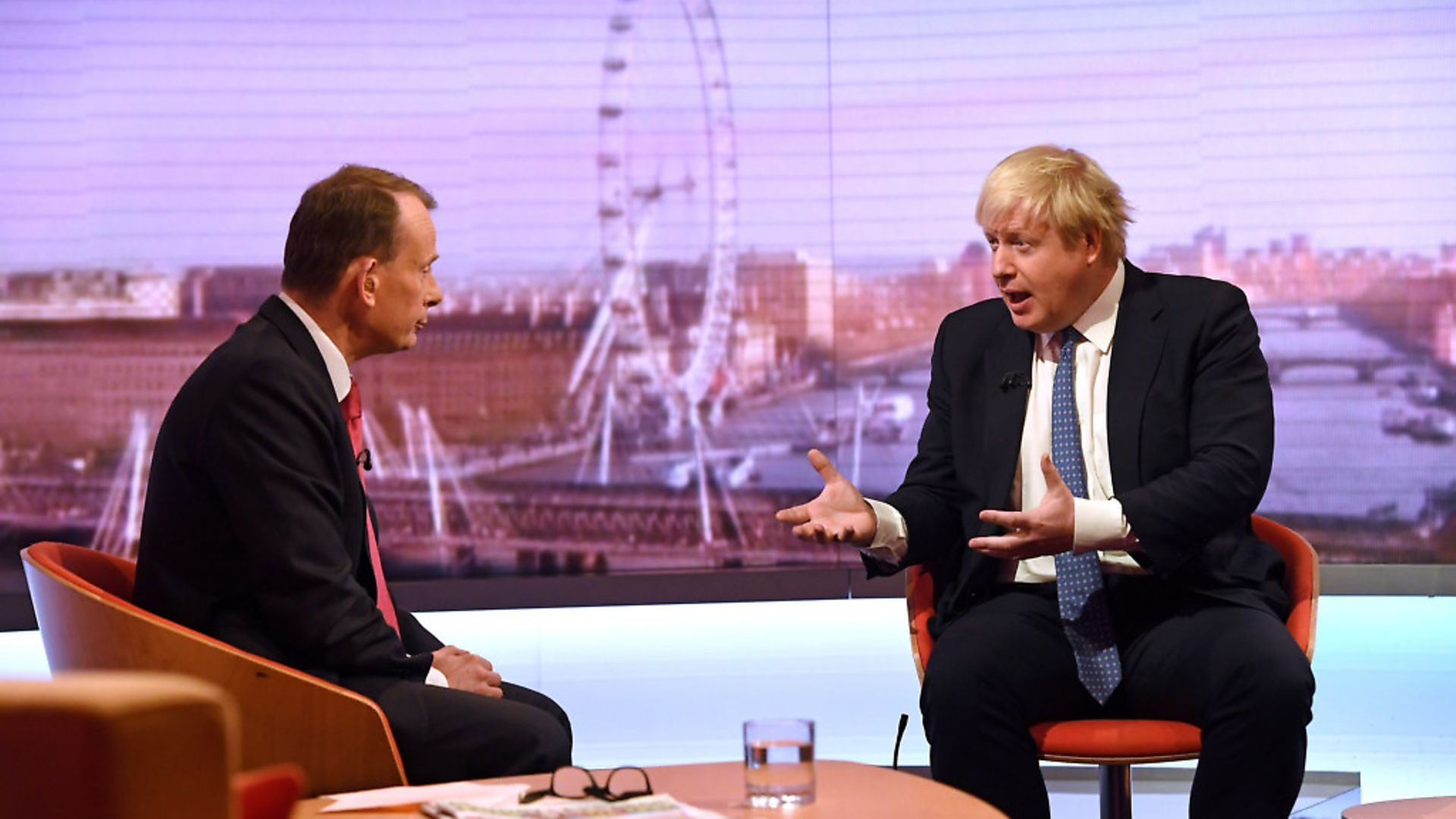 Andrew Marr (left) and Foreign Secretary Boris Johnson during filming for  The Andrew Marr Show. Photograph: Victoria Jones/PA. - Credit: PA Archive/PA Images
