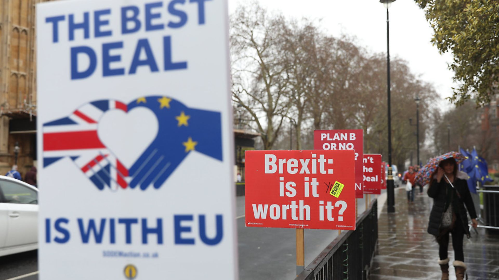 Anti-Brexit placards stand outside the Houses of Parliament as Brexit negotiations continue. Picture: PA/EMPICS Entertainment/Isabel Infantes - Credit: EMPICS Entertainment