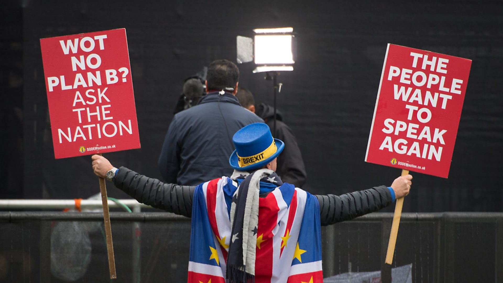 Anti Brexit protestor Steve Bray outside the Houses of Parliament. Photograph: Dominic Lipinski/PA. - Credit: PA Wire/PA Images