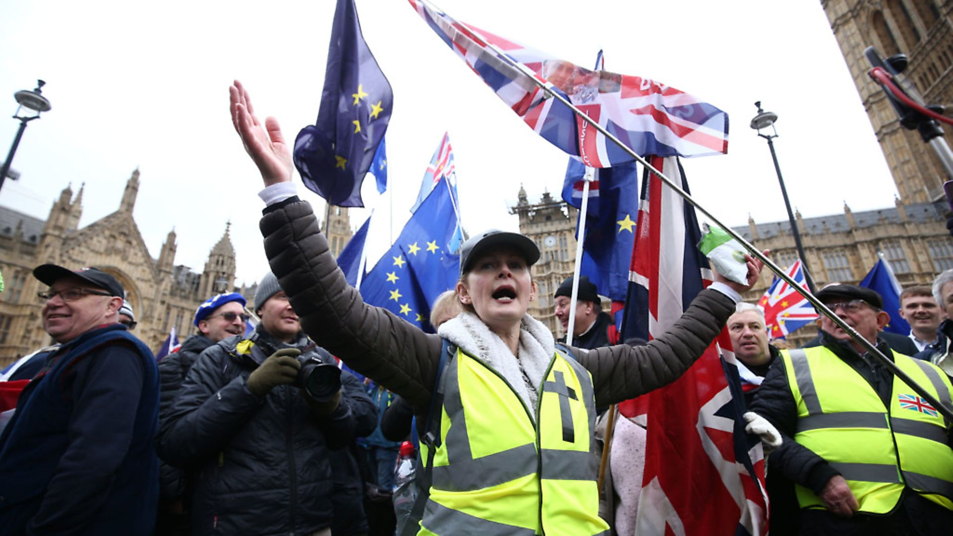 Pro Brexit supporters outside the Houses of Parliament, London, ahead of the House of Commons vote on the Prime Minister's Brexit deal. Photo credit: Yui Mok/PA Wire - Credit: PA