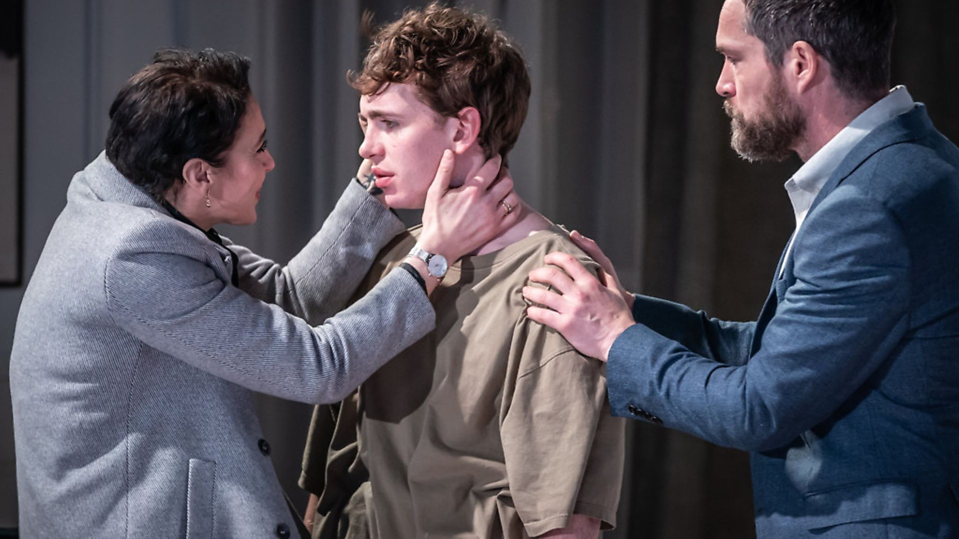 Amanda Abbington as Anne, Laurie Kynaston as Nicolas and John Light as Pierre in The Son at The Kiln picture by Marc Brenner - Credit: Archant