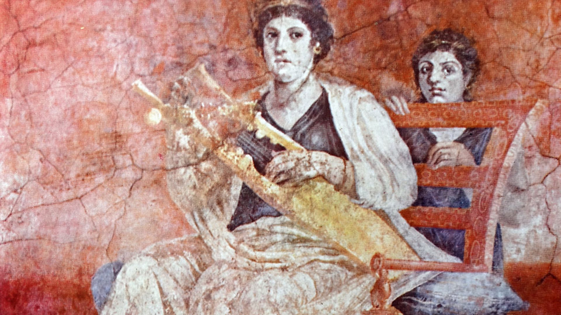 Roman wall painting titled 'Lady Musician and Young Girl' from a villa at Boscoreale. Picture: Universal History Archive/UIG via Getty Images - Credit: UIG via Getty Images