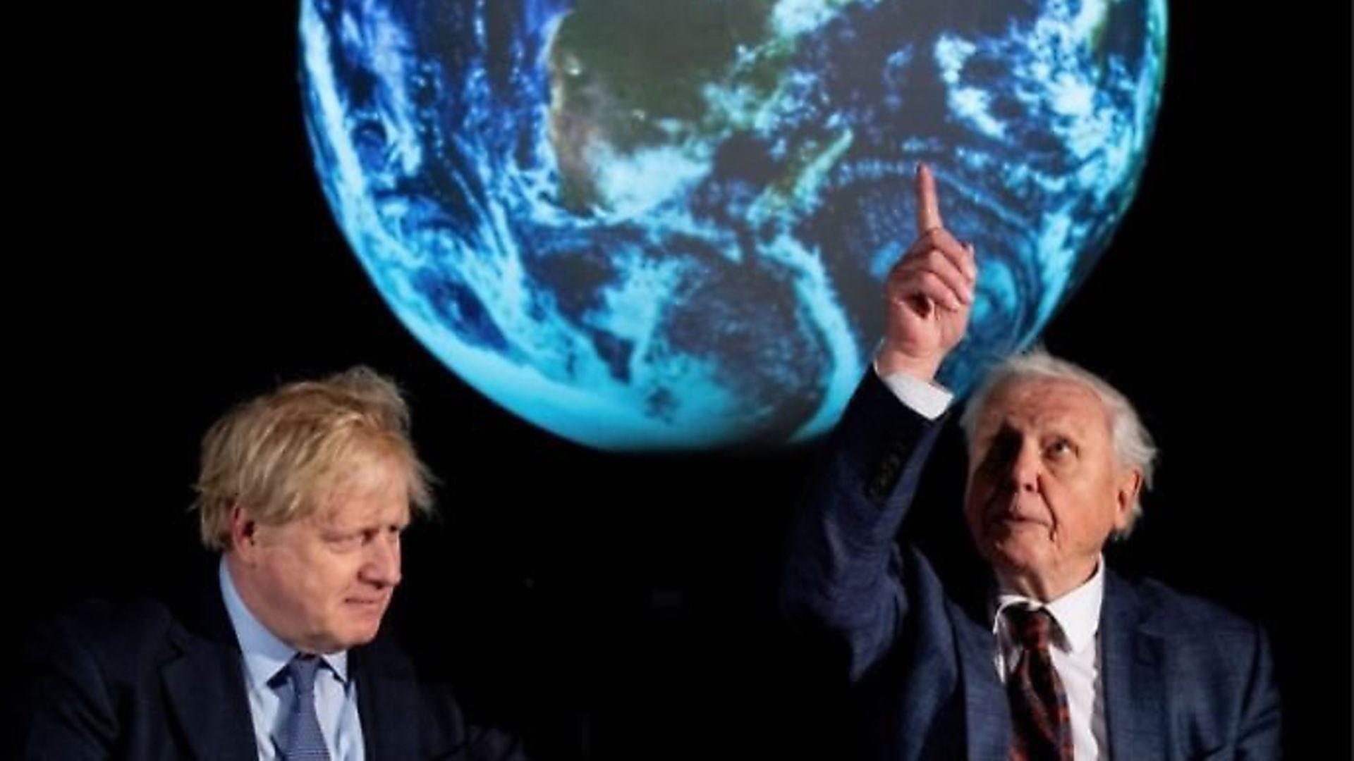 BBC presenter Sir David Attenborough with Boris Johnson. Photograph: Chris J Ratcliffe/PA Wire.