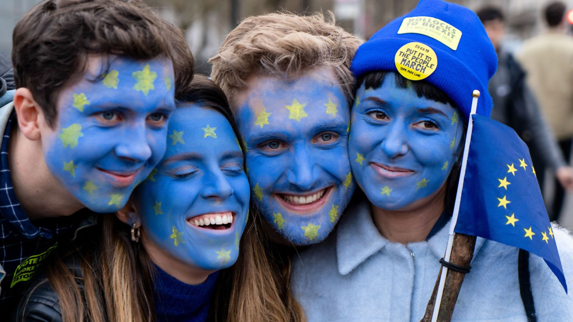 Pro-European protesters at a rally organised by the pro-European People's Vote campaign for a second EU referendum in Parliament Square. Picture: NIKLAS HALLE'N/AFP/Getty Images - Credit: AFP/Getty Images