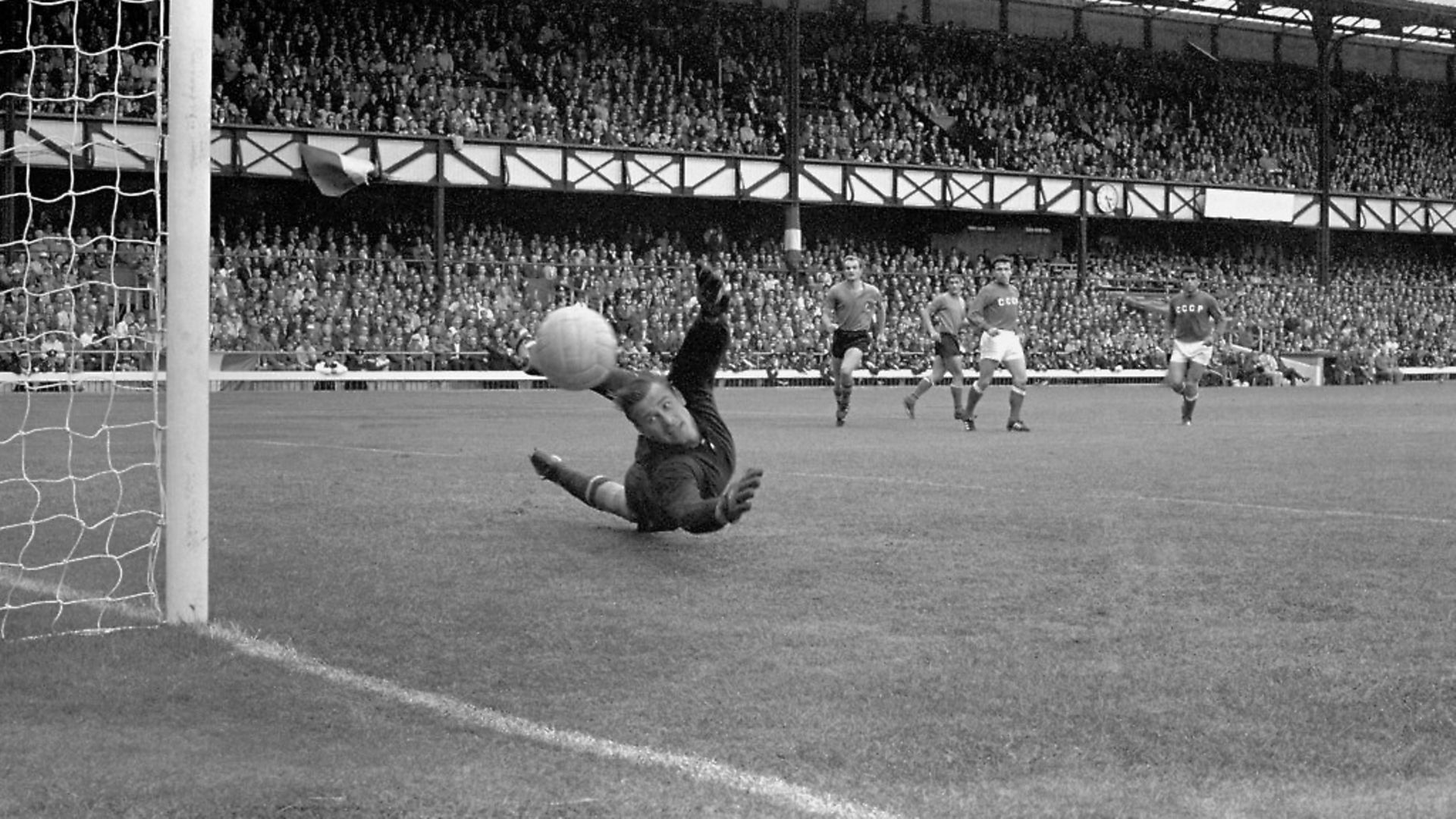 Russia's goalkeeper Lev Yashin makes a save from Italy's Sandro Mazzola, during their Group 4 1966 World Cup match at Roker Park, in Sunderland. - Credit: PA Archive/PA Images