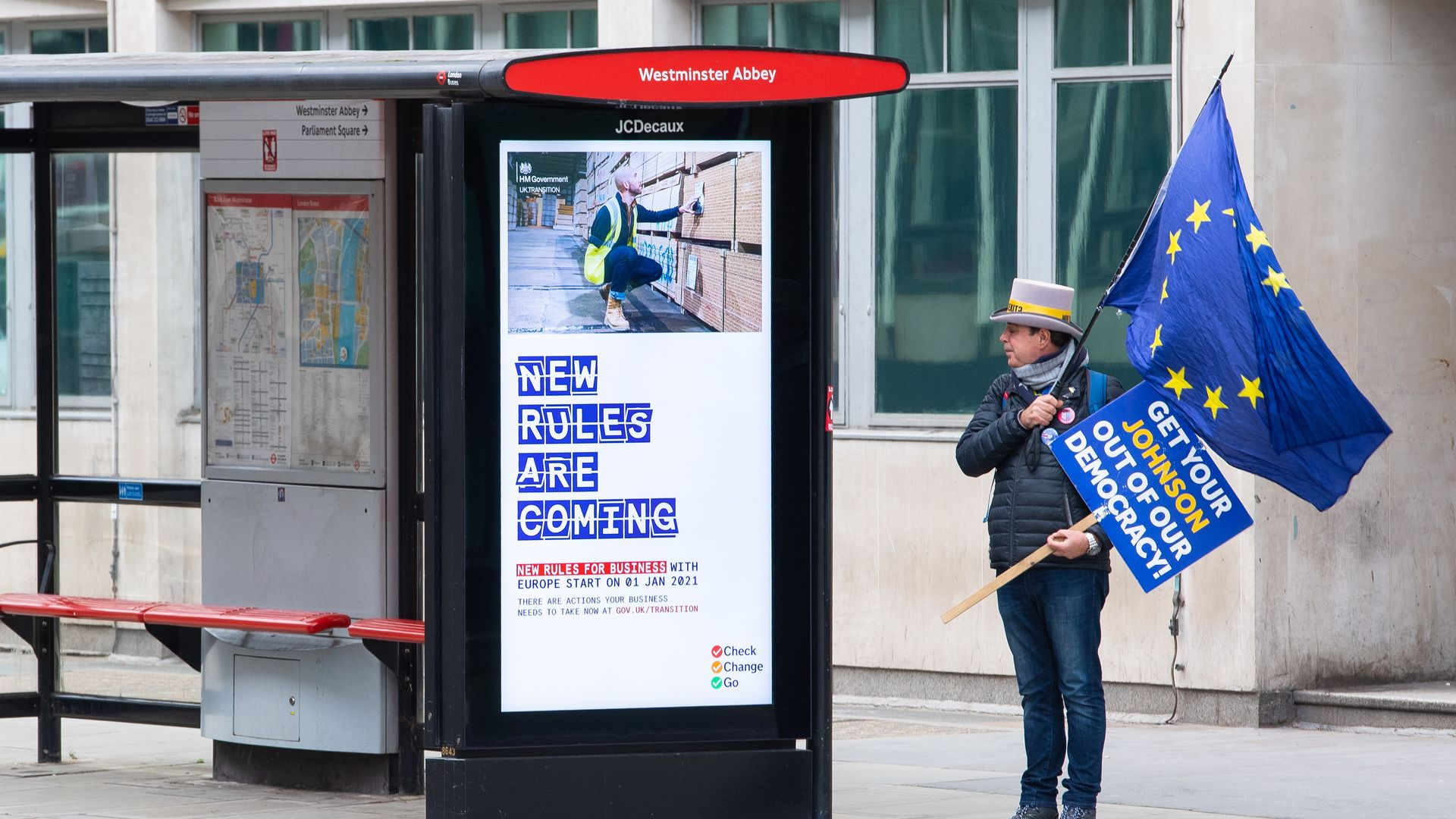 Pro-EU campaigner Steve Bray checks out the government's new Brexit advertisements - Credit: PA