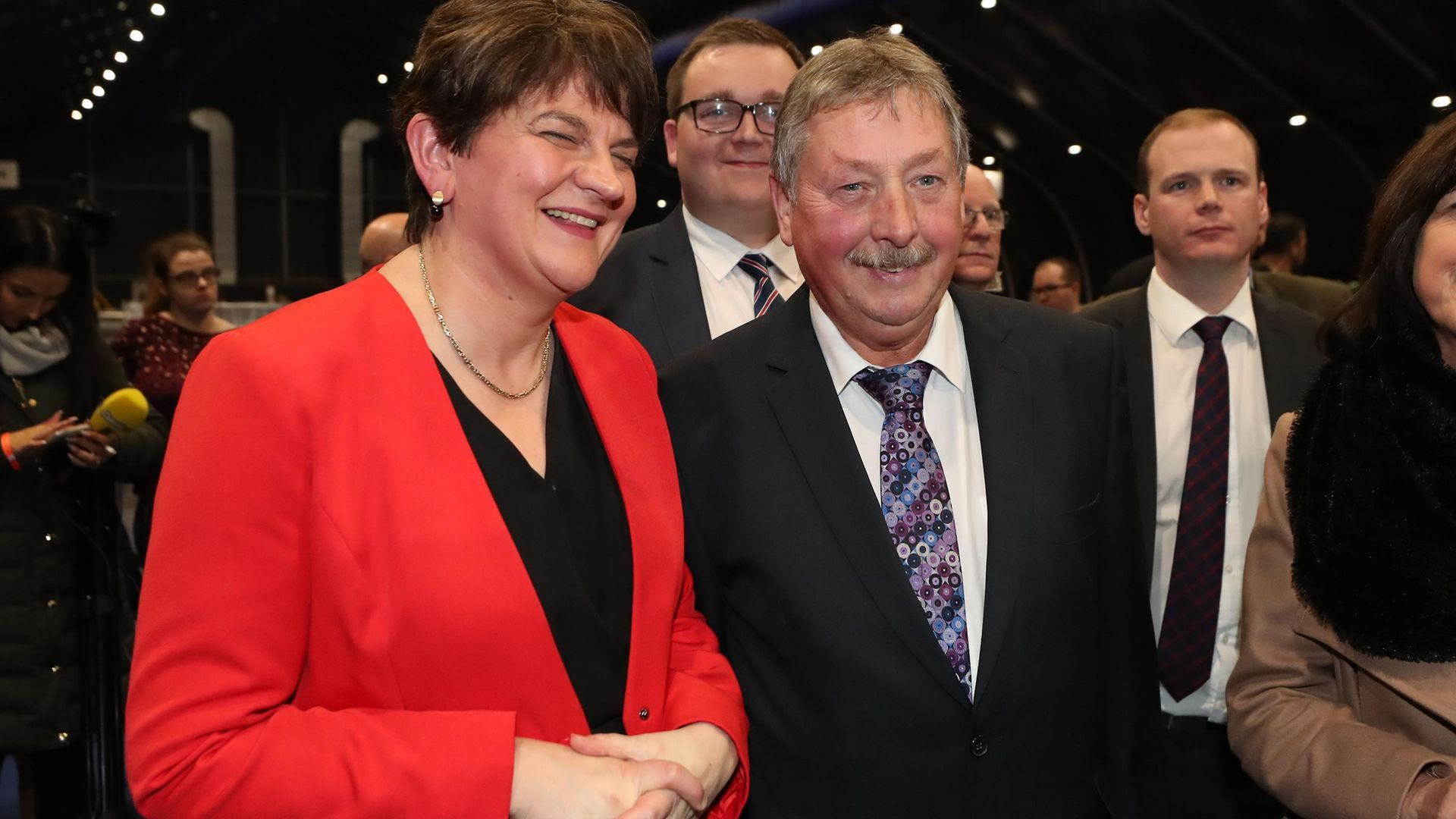 The DUP's Sammy Wilson celebrates with party leader Arlene Foster after winning the South Down seat at the Titanic exhibition centre, Belfast, for the 2019 General Election; Liam McBurney/ PA Images - Credit: PA