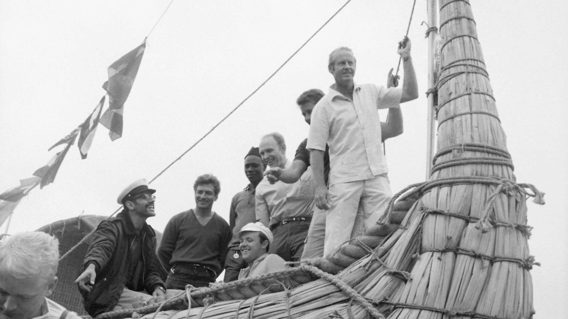 "(Original Caption) Thor Heyerdahl with crew on the bow of the ""Ra,"" Safi, Morocco. 5/22/69. - Credit: Bettmann Archive"