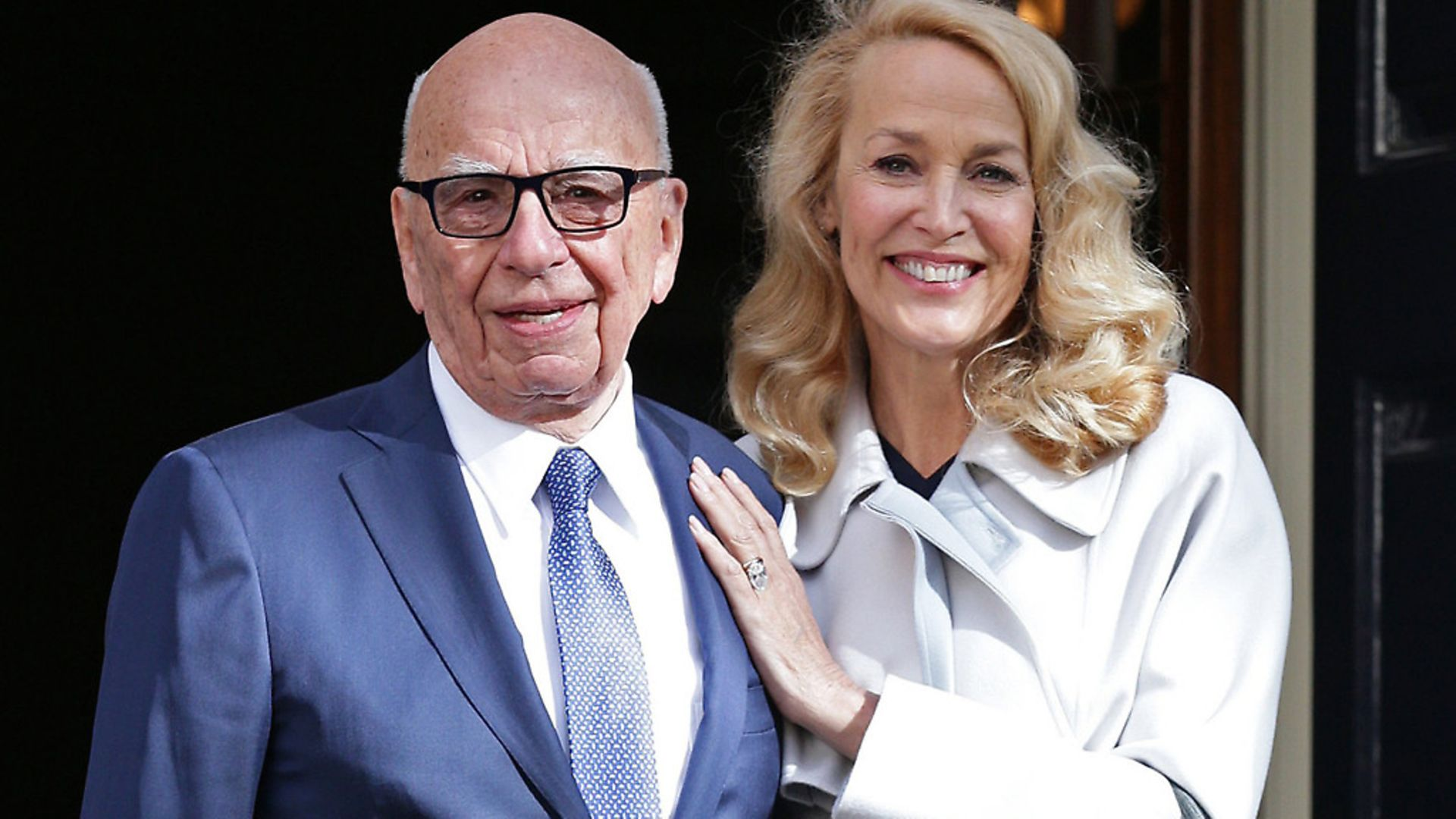 Media mogul Rupert Murdoch and Jerry Hall leave Spencer House, London, after getting married. Photograph: Yui Mok/PA. - Credit: PA Archive/PA Images