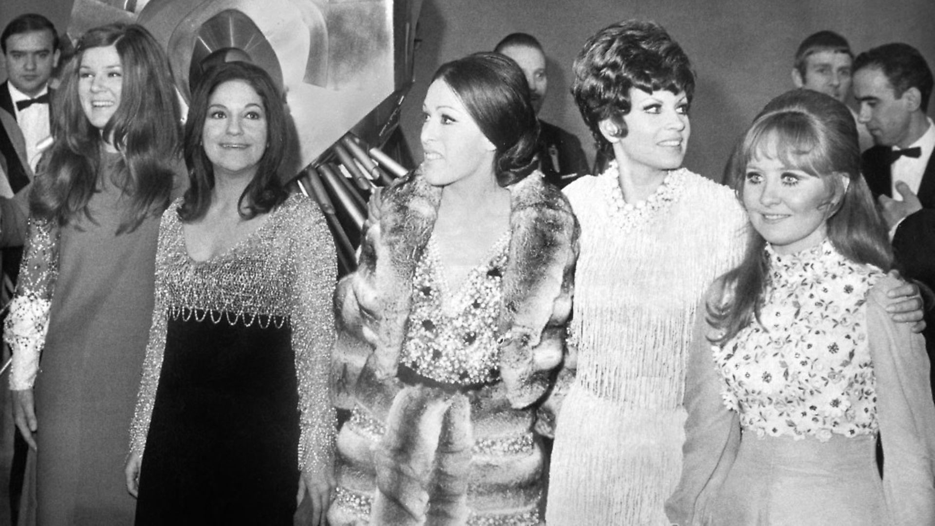 The 1969 Eurovision Song Contest winners with Spain's 1968 victor Massiel. From left, Lenny Kuhr (Netherlands), Frida Boccara (France), Massiel Salome (Spain) and Lulu (UK) Photo: Hans J. Hoffmann/ullstein bild via Getty Images - Credit: ullstein bild via Getty Images