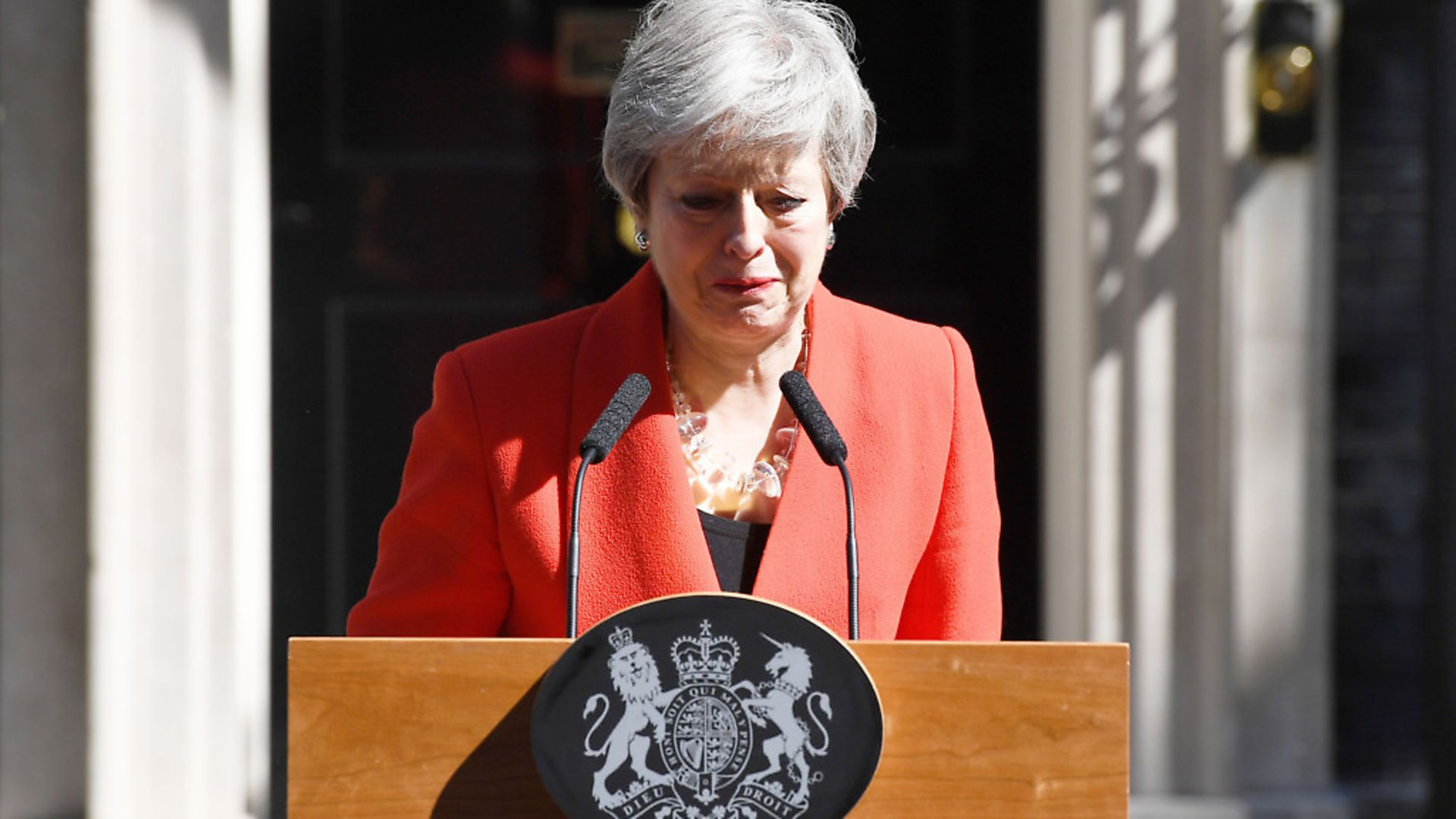 Tears as Theresa May announces she is resigning as prime minister.  (Photo by Leon Neal/Getty Images) - Credit: Getty Images