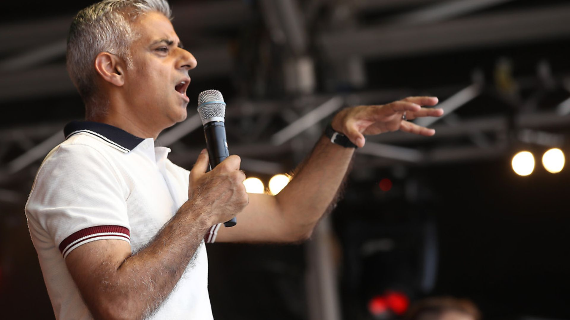 Mayor of London Sadiq Khan speaks on the Trafalgar Square Stage during Pride In London 2018. Photo by Mike Marsland/WireImage for Pride In London. - Credit: WireImage for Pride In London