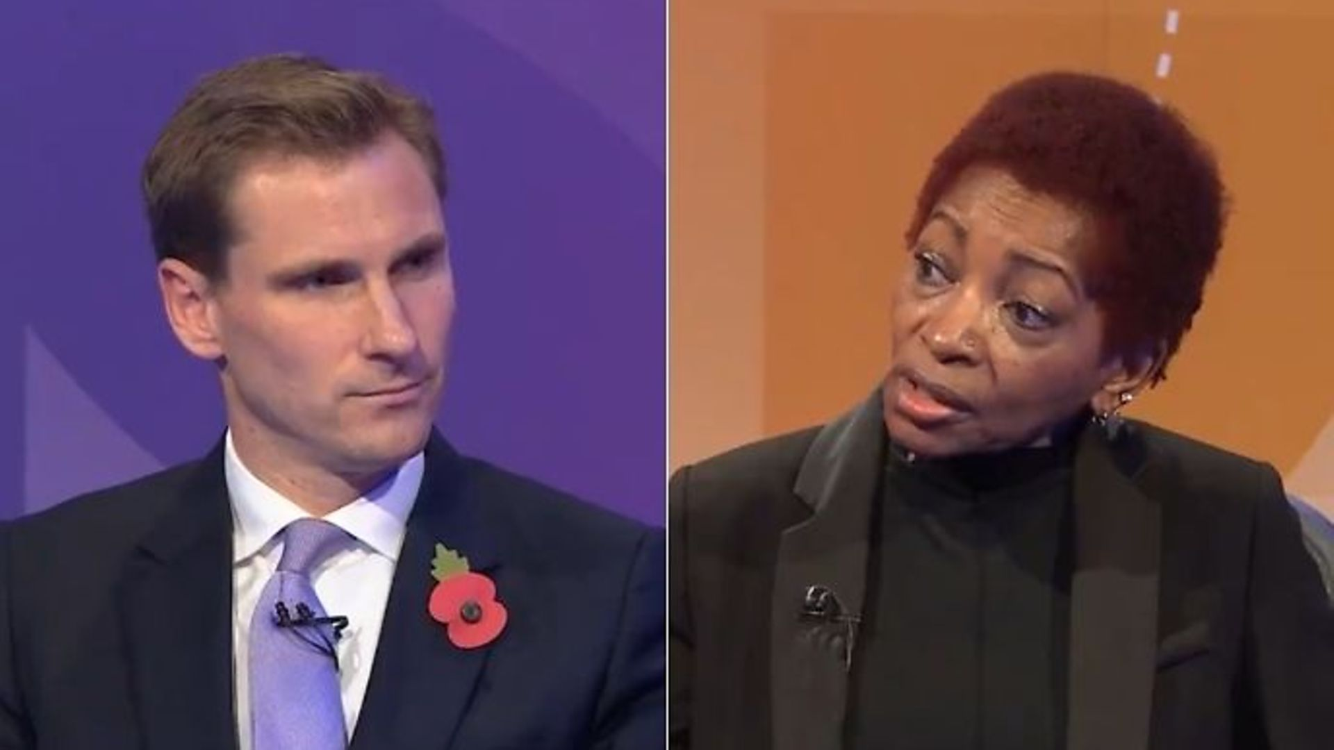 Justice minister Chris Philp (L) and columnist Bonnie Greer on Question Time - Credit: Twitter