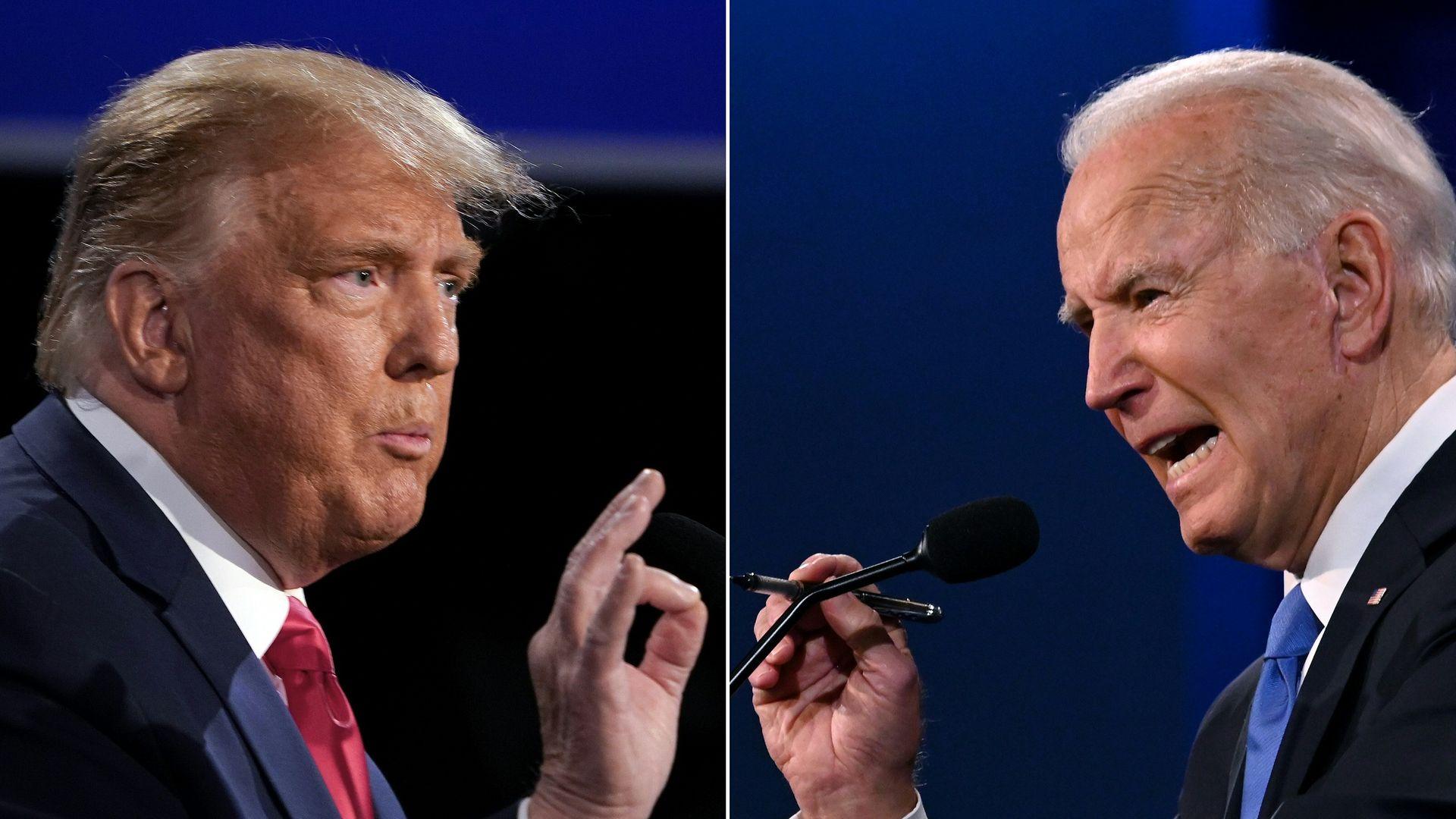 US President Donald Trump (L) and former US Vice President Joe Biden during a debate - Credit: BRENDAN SMIALOWSKI, JIM WATSON/AFP via Getty Images