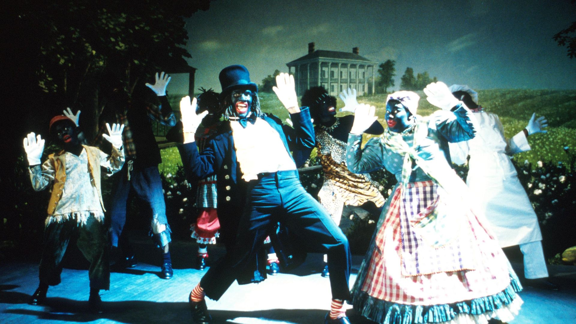 """Savion Glover as Mantan, center, performs in a scene from New Line Cinema's satire, """"Bamboozled,"""" directed by Spike Lee. - Credit: Getty Images"""
