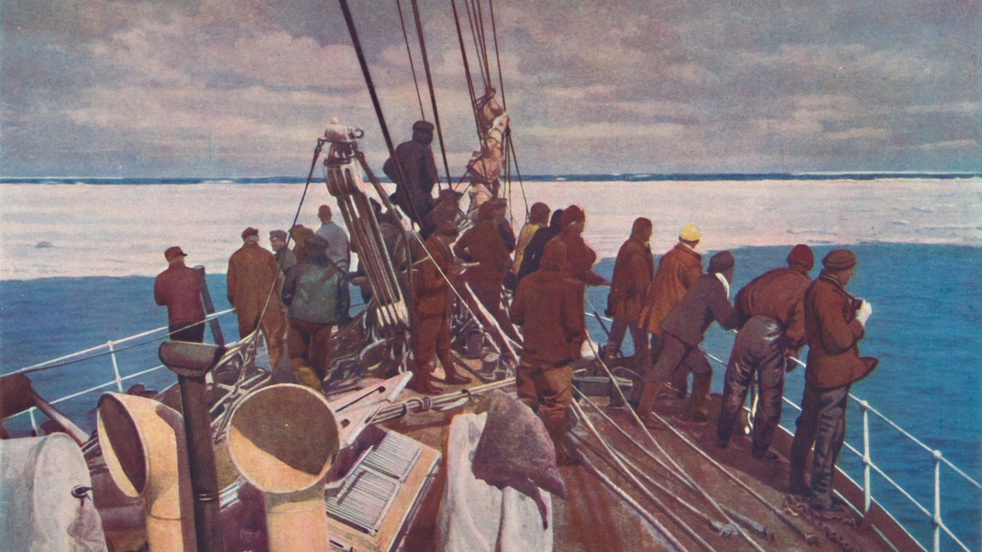 Prelude to Adventure. Captain Scott's ship, the Terra Nova, entering the pack ice of the South Polar regions', circa 1910. - Credit: Getty Images