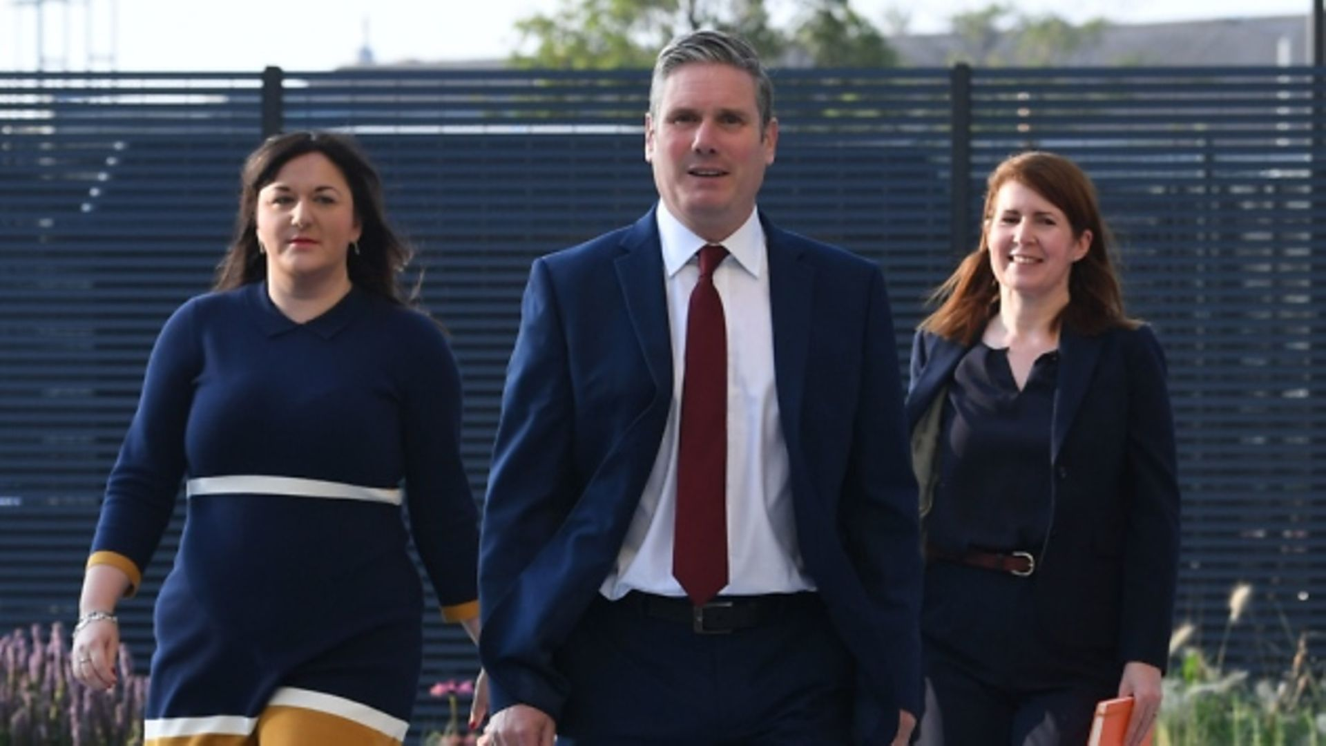 Labour leader Sir Keir Starmer arrives with Ruth Smeeth (left) and his political director Jenny Chapman, to deliver his keynote speech during the party's online conference from the Danum Gallery, Library and Museum in Doncaster. Photograph: Stefan Rousseau/PA Wire.