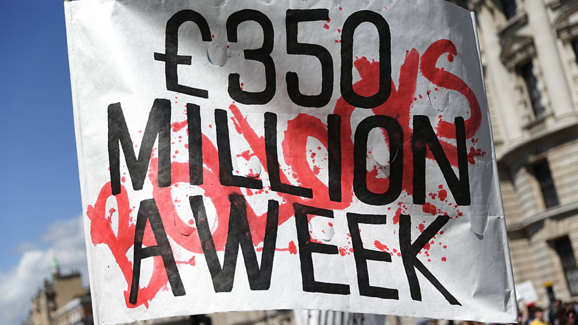A sign is held in at an anti-Brexit protest branding the £350m a week Vote Leave claim 'bollocks'. (Daniel Leal-Olivas/PA). - Credit: PA Archive/PA Images