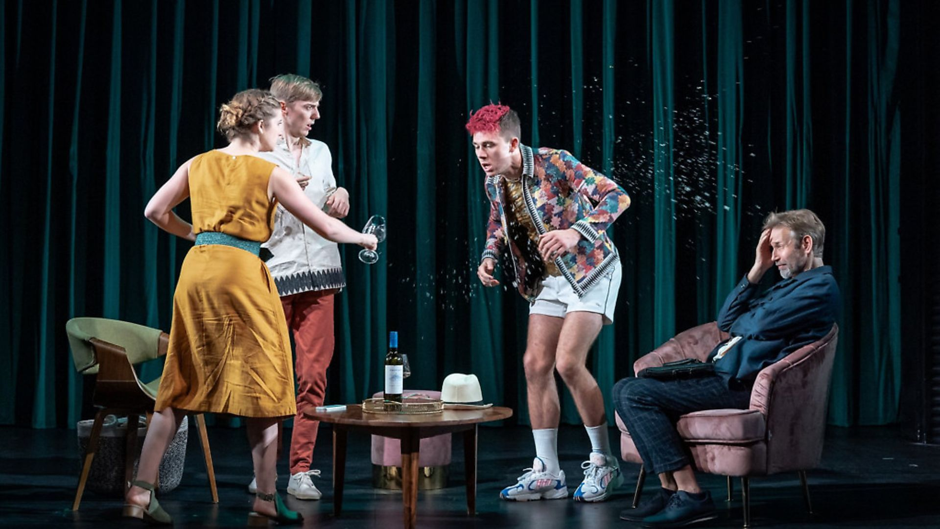 Karen Fishwick (Clare), Joshua James (Finn), Calam Lynch (Cas) and Richard Cant (Ivar) in Wife. Picture: Marc Brenner - Credit: Archant