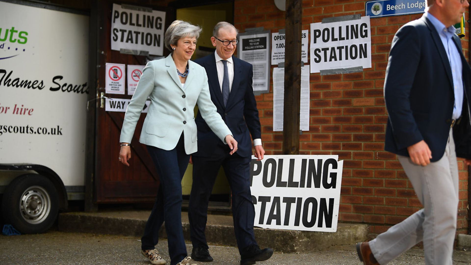 Prime Minister Theresa May and her husband, Philip, arrive to cast their votes at a polling station for the European Parliament election. Photograph: Victoria Jones/PA. - Credit: PA Wire/PA Images